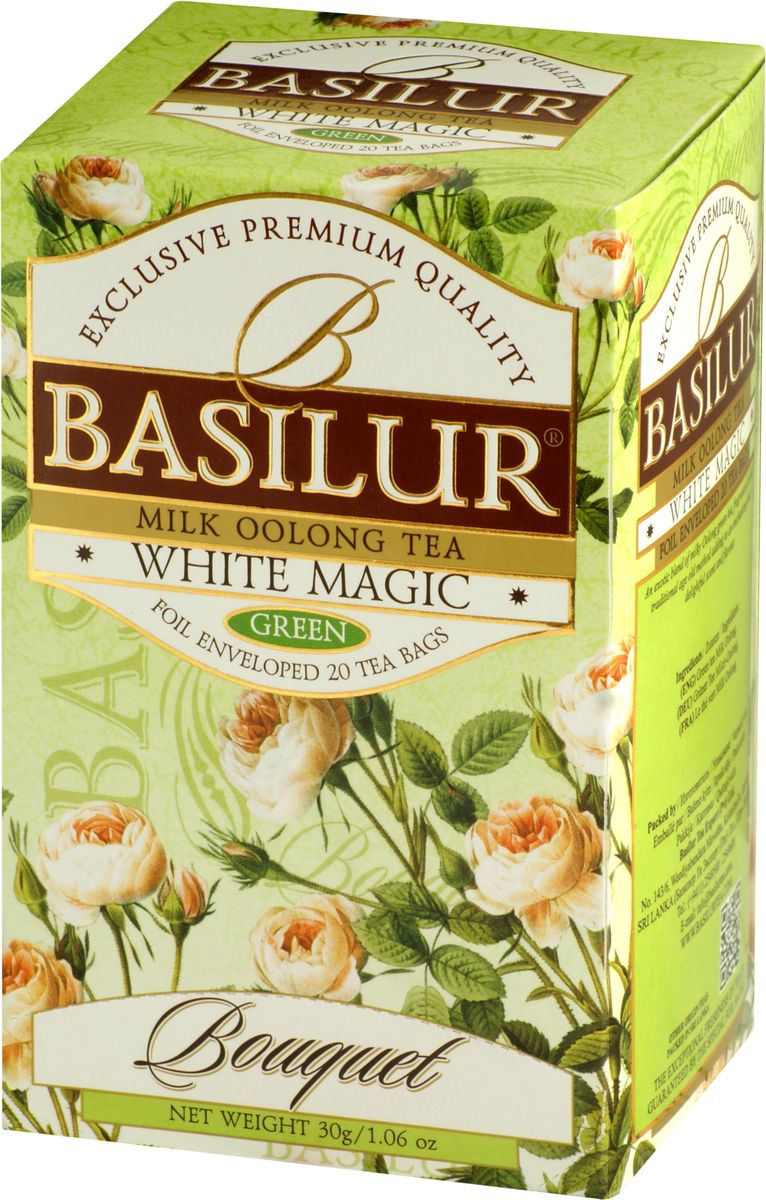 Basilur White Magic зеленый чай в пакетиках, 20 шт70154-00Чай зелёный китайский байховый мелколистовой Basilur White Magic с молочным ароматом в пакетиках с ярлычками для разовой заварки.Чай Basilur White Magic - это уникальное сочетание молочного зелёного чая улун (Oolong), который составляет основу старинной традиционной рецептуры приготовления напитка восхитительного вкуса и аромата.