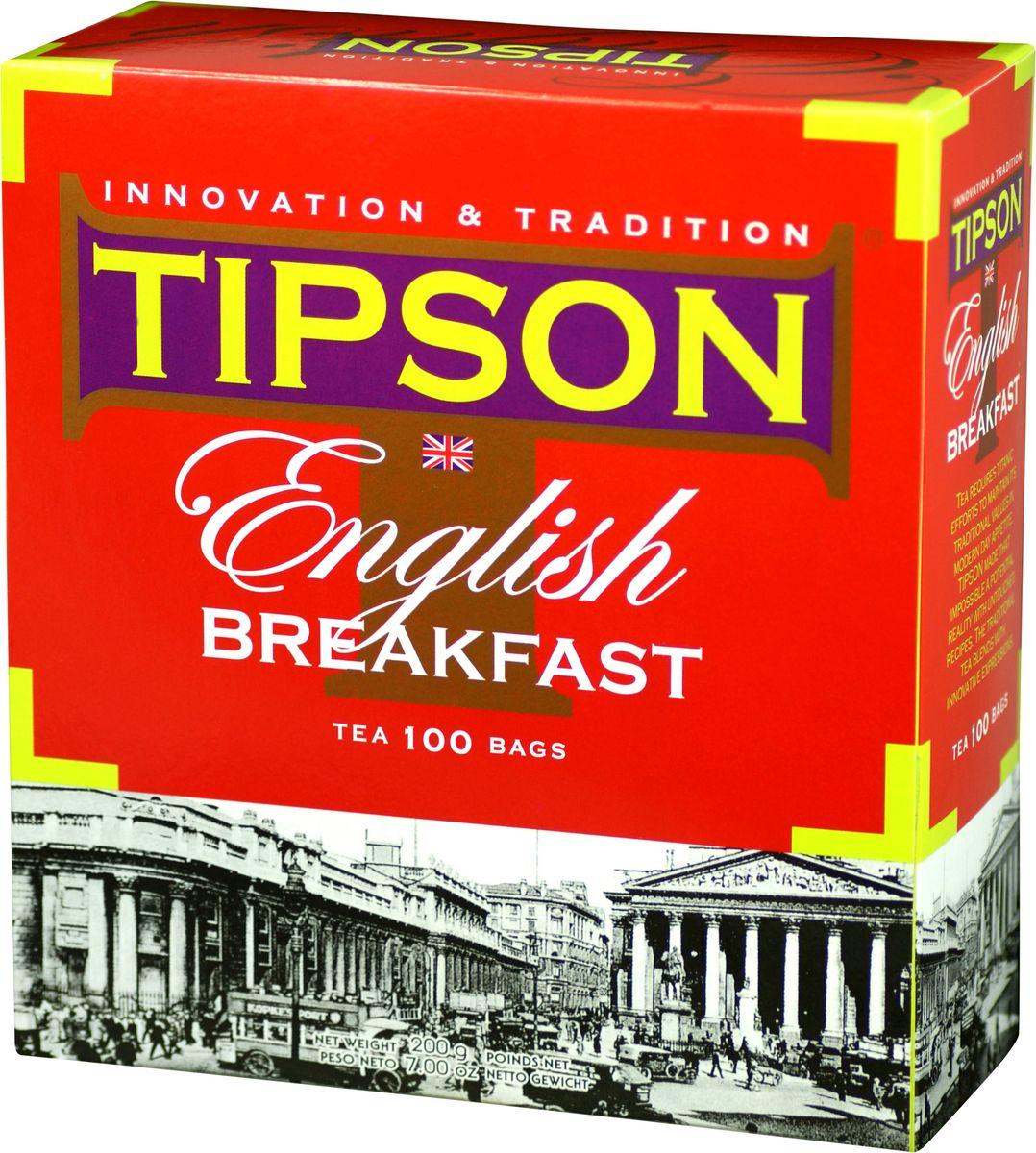 Tipson English Breakfast черный чай в пакетиках, 100 шт0120710Чай чёрный цейлонский байховый листовой Tipson English Breakfast в пакетиках с ярлычками для разовой заварки. Невозможно представить классический английский завтрак без чая. TIPSON поддерживает эту традицию, развивает её и дополняет новаторским подходом.