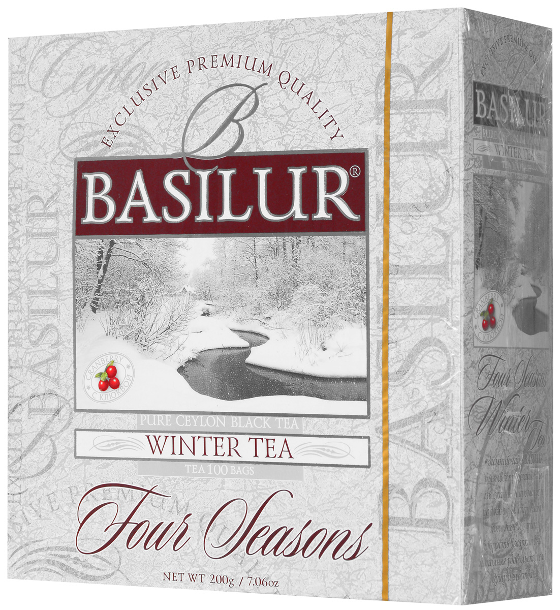 Basilur Winter Tea черный чай в пакетиках, 100 шт0120710Чёрный цейлонский байховый мелколистовой чай Basilur Winter Tea с ароматом клюквы в пакетиках с ярлычками для разовой заварки прекрасно освежит и придаст сил.Смесь лучших сортов цейлонского чая стандарта ОP и натуральных ягод клюквы специально составлена мастерами-дегустаторами чая, что бы вызвать у вас восхищение изысканностью вкуса и аромата. Зимний чай Basilur согреет в холодные дни и подарит бодрость - в жаркие.