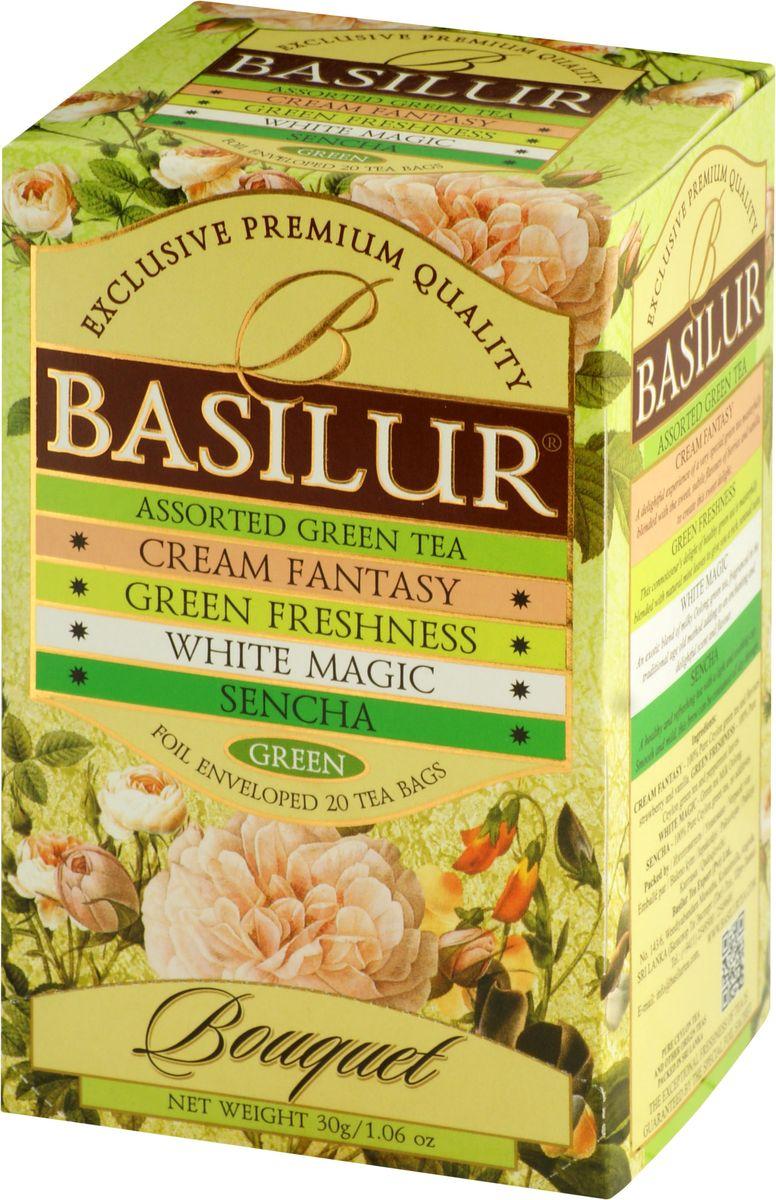 Basilur Assorted Bouquet зеленый чай в пакетиках, 20 шт0120710Basilur Assorted Bouquet - коллекция, состоящая из различных сортов зеленого чая в пакетиках. Состав:Кремовая фантазия - зеленый цейлонский мелколистовой чай с ароматами клубники и ванили;Зеленая свежесть - зеленый цейлонский мелколистовой чай с перечной мятой;Белое волшебство - зеленый китайский чай с молочным ароматом;Сенча - зеленый мелколистовой цейлонский чай Сенча.