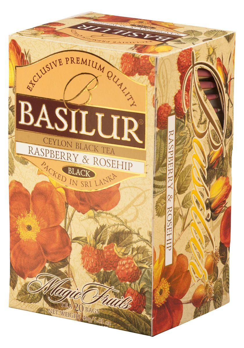 Basilur Raspberry and Rosehip черный чай в пакетиках, 20 шт0120710Чай чёрный цейлонский байховый мелколистовой Basilur Raspberry and Rosehip с шиповником и ароматом малины в пакетиках с ярлычками для разовой заварки. Малина и шиповник - выразительная, яркая композиция лучших сортов чёрного цейлонского чая и натуральных ягод малины и плодов шиповника, делает Basilur Raspberry and Rosehip не только приятным, но и полезным для здоровья.