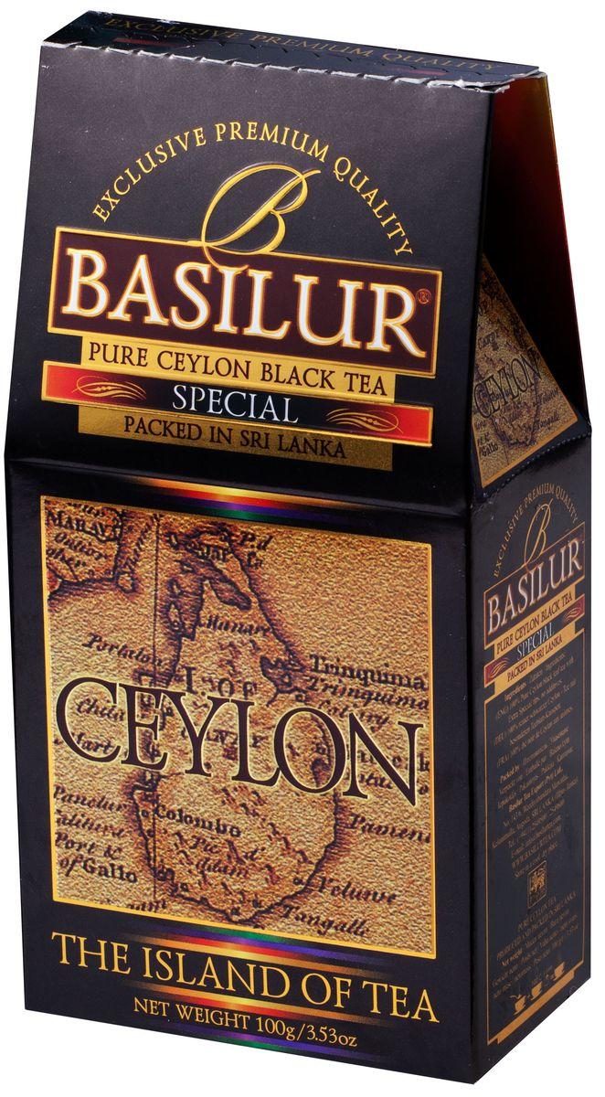 Basilur Special FBOP черный листовой чай, 100 г0120710Чай чёрный цейлонский байховый листовой Basilur Special с типсами. Чайные почки - типсы - являются отличительным признаком высокого качества чая класса премиум. Два аккуратно скрученных листка и почка при заваривании создают неповторимый медовый аромат и тонкий нежный вкус - это и есть Basilur Особый чай стандарта FBOPF Extra Special, выращенный на горных склонах острова Цейлон.