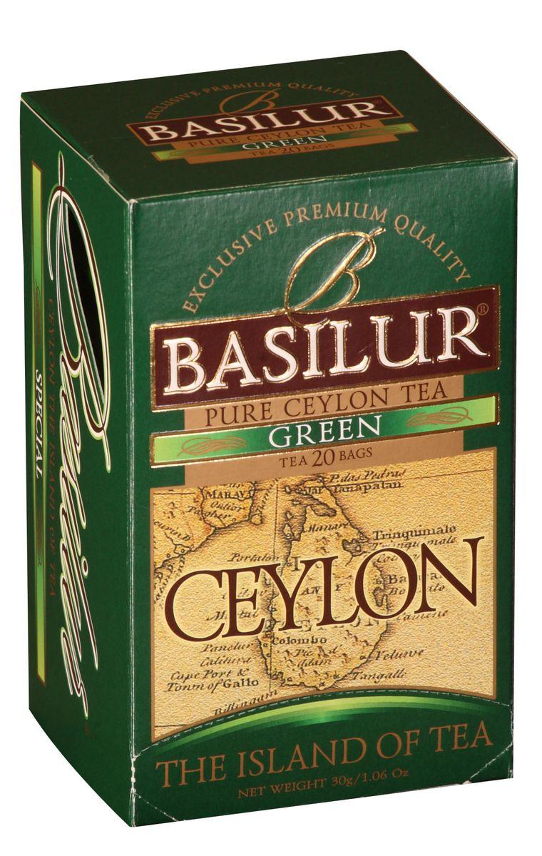 Basilur Green зеленый чай в пакетиках, 20 шт0120710Basilur Green OPA - зеленый байховый листовой чай. Цейлонский зеленый чай способствует здоровью и долголетию. Минимальная обработка этого вида чая позволяет сохранить большинство витаминов, минералов, антиоксидантов, и других биоактивных веществ, благотворно влияющих на организм.