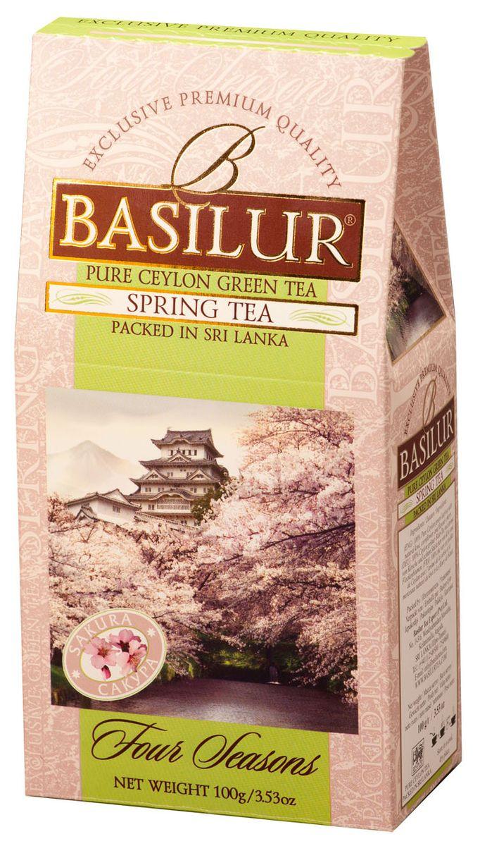 Basilur Spring Tea зеленый листовой чай, 100 г0120710Чай зелёный цейлонский байховый листовой Basilur Spring Tea с кусочками помело и вишни, лепестками василька и ароматом вишни. Нежная красота распускающихся бутонов сакуры, как символ наступающей весны будет всегда поражать ваше воображение, если вы пьёте чай Basilur Весенний с ароматом вишни.