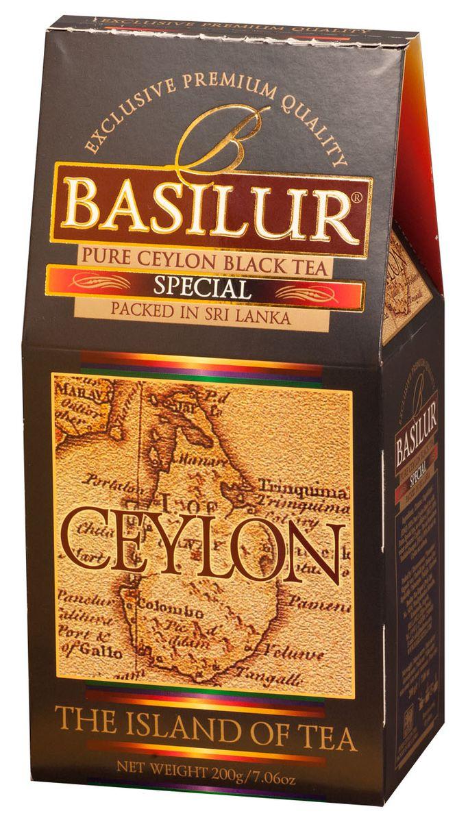 Basilur Special FBOP черный листовой чай, 200 г0120710Чай чёрный цейлонский байховый листовой Basilur Special с типсами. Чайные почки - типсы - являются отличительным признаком высокого качества чая класса премиум. Два аккуратно скрученных листка и почка при заваривании создают неповторимый медовый аромат и тонкий нежный вкус - это и есть Basilur Особый чай стандарта FBOPF Extra Special, выращенный на горных склонах острова Цейлон.