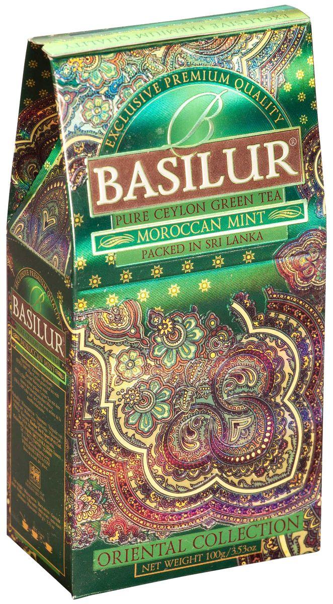 Basilur Moroccan Mint зеленый листовой чай, 100 г0120710Чай зелёный цейлонский байховый листовой Basilur Moroccan Mint с листьями мяты и ароматом марокканской мяты. Очень популярный на Востоке зеленый чай с ароматом марокканской мяты подарит вам свежесть, бодрость и энергию на целый день.