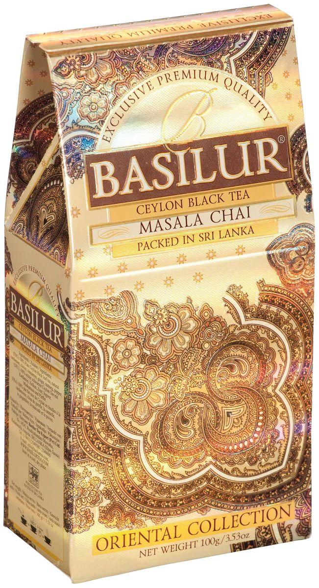 Basilur Masala Chai черный листовой чай, 100 г0120710Чай чёрный цейлонский байховый листовой Basilur Masala Chai с пряностями: кардамон, гвоздика, корица, имбирь, мускатный орех и перец. Традиционный индийский рецепт черного чая с натуральными пряностями - кардамоном, корицей, мускатным орехом и имбирем - познакомит вас с таинственным миром древнего Востока. Рекомендуется пить с молоком.