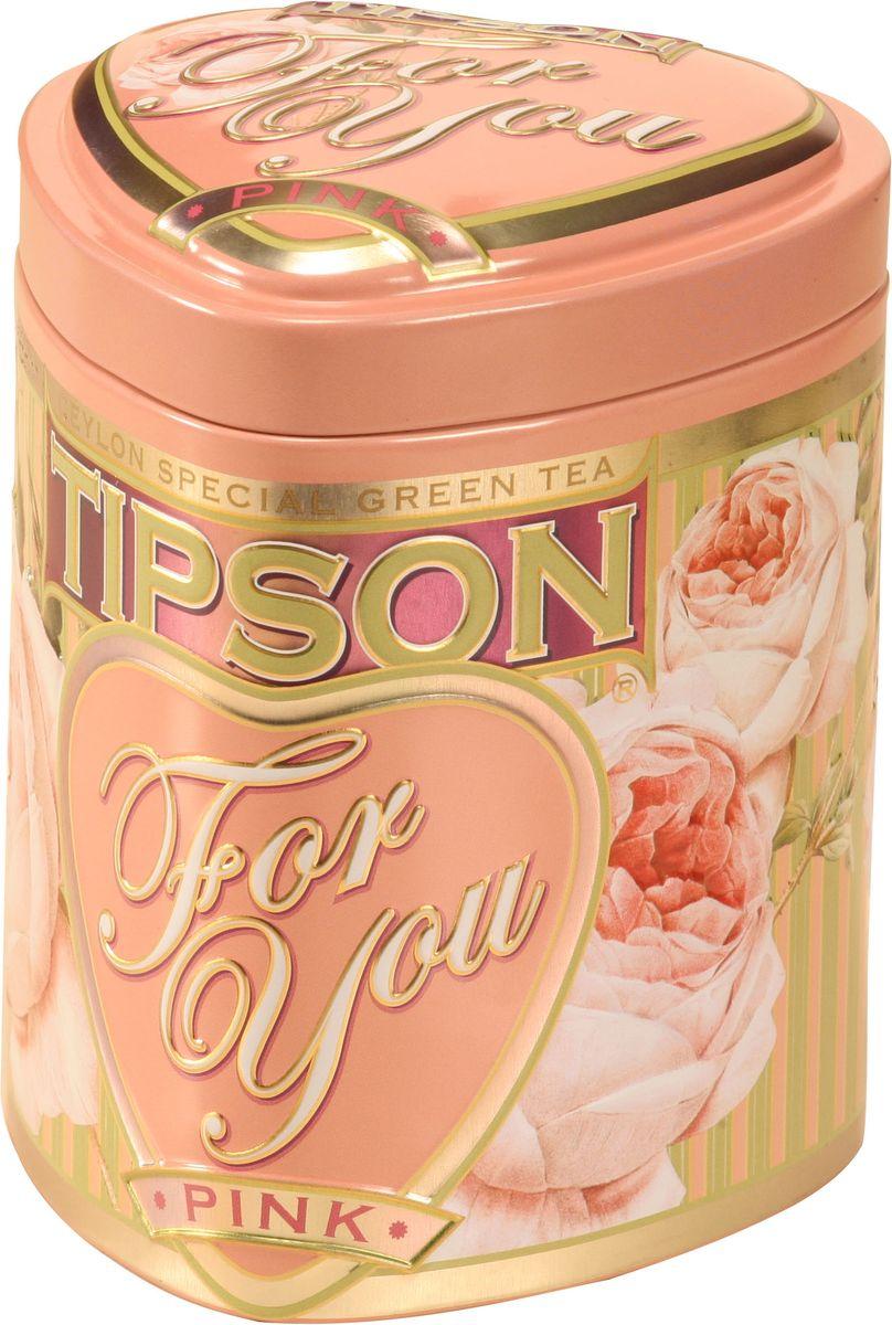 Tipson Pink зеленый листовой чай, 75 г (жестяная банка)0120710Чай зелёный цейлонский байховый листовой Tipson Pink с ароматом яблока.