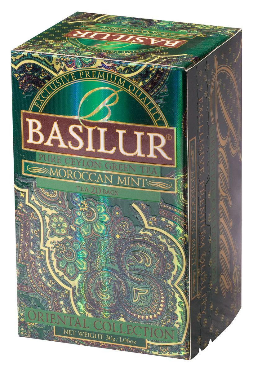 Basilur Moroccan Mint зеленый чай в пакетиках, 20 шт0120710Чай зелёный цейлонский байховый мелколистовой Basilur Moroccan Mint с листьями и ароматом марокканской мяты в пакетиках с ярлычками для разовой заварки. Очень популярный на Востоке зеленый чай с ароматом марокканской мяты подарит вам свежесть, бодрость и энергию на целый день.