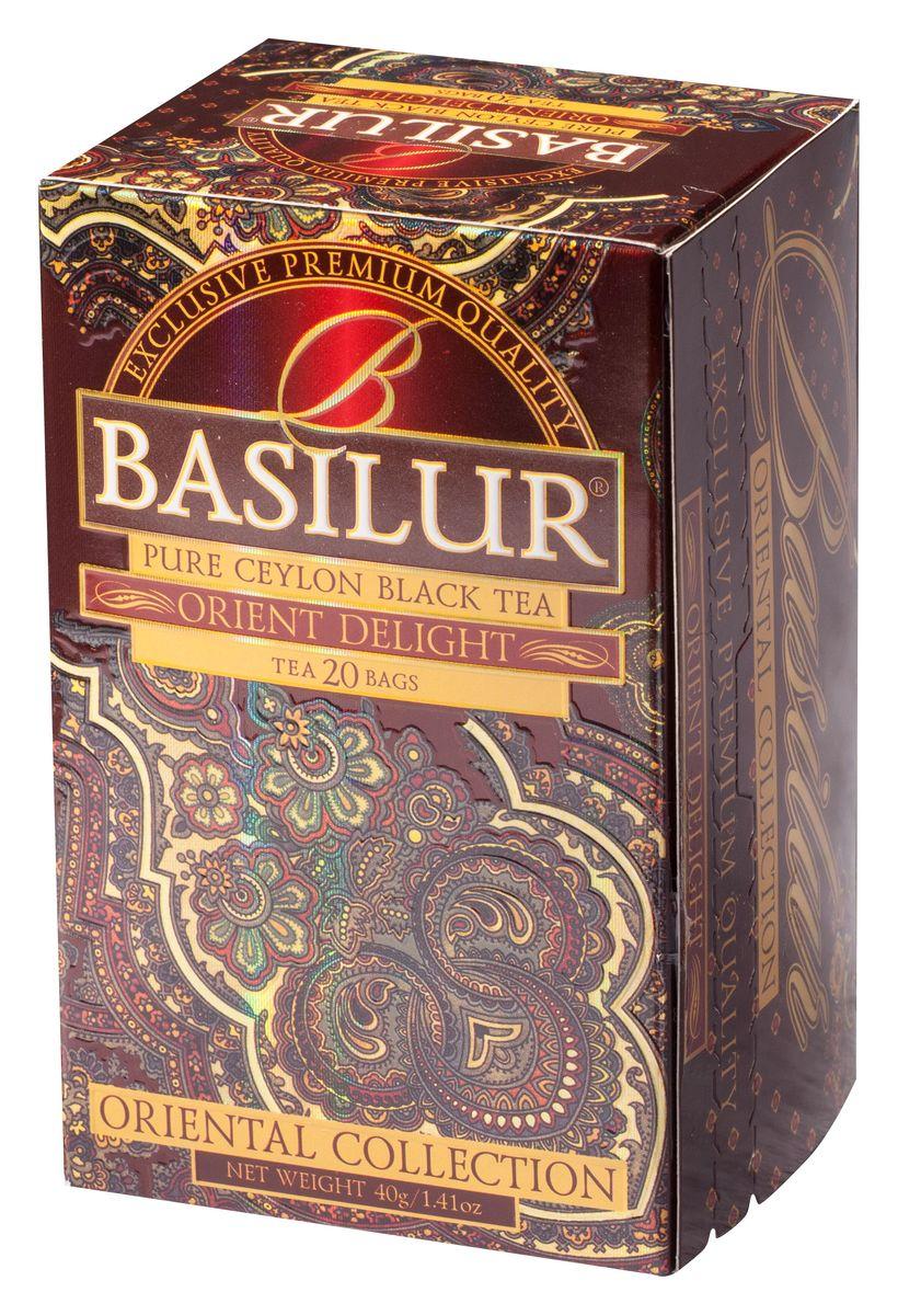 Basilur Orient Delight черный чай в пакетиках, 20 шт0120710Чай чёрный цейлонский байховый мелколистовой Basilur Orient Delight с типсами в пакетиках с ярлычками для разовой заварки. Этот цейлонский чай сорта FBOP Extra Special с типсами (чайными почками) - для настоящих ценителей! Вас порадует насыщенный темно-красный настой и великолепный аромат с мягкой медовой нотой. Чайные почки - типсы - являются отличительным признаком высокого качества чая класса премиум. Два аккуратно скрученных листка и почка при заваривании создают неповторимый медовый аромат и тонкий нежный вкус чая, выращенного на горных склонах острова Цейлон.