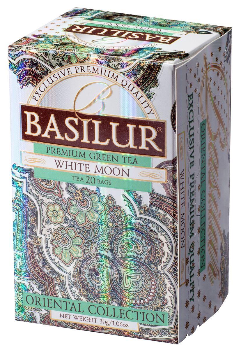 Basilur White Moon зеленый чай в пакетиках, 20 шт70417-00Чай зелёный китайский байховый мелколистовой Basilur White Moon с молочным ароматом в пакетиках с ярлычками для разовой. Этот сорт создан на основе древней китайской рецептуры чая улун (oolong). Его отличительными чертами являются шелковистая текстура чайного листа,нежный молочный вкус и аромат настоя.