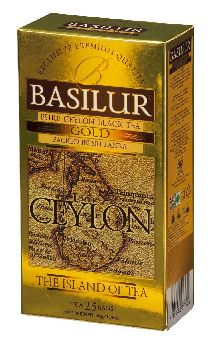 Basilur Gold черный чай в пакетиках, 25 шт0120710Basilur Gold OP1 - черный байховый мелколистовой чай в пакетиках с ярлычками для разовой заварки. Orange Pekoe 1 - это высокий стандарт листового цейлонского чая, который сочетает в себе полноту вкуса с тонкими оттенками аромата. А благородный золотистый цвет его настоя делает напиток поистине драгоценным.