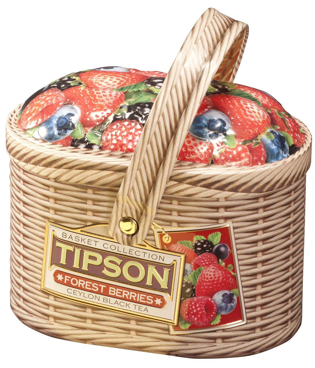 Tipson Forest Berries черный листовой чай, 100 г (жестяная банка)0120710Чай чёрный цейлонский байховый листовой Tipson Forest Berries с кусочками клубники и яблока, лепестками василька и ароматами вишни и ванили.
