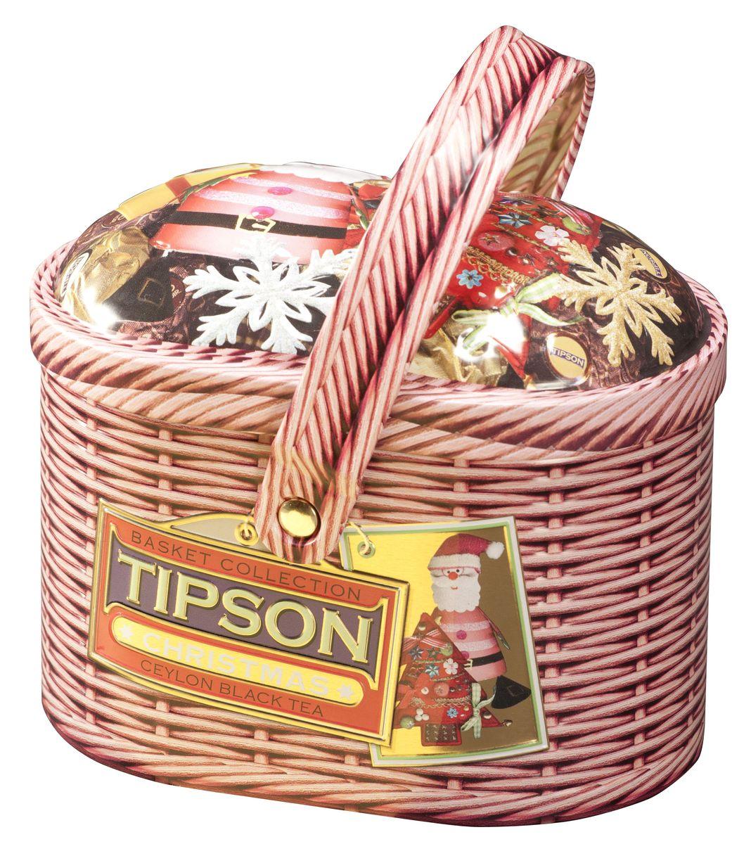 Tipson Christmas черный листовой чай, 100 г (жестяная банка)0120710Чай чёрный цейлонский байховый листовой Tipson Christmas с кусочками вишни, лепестками амаранта и василька и ароматом ванили.