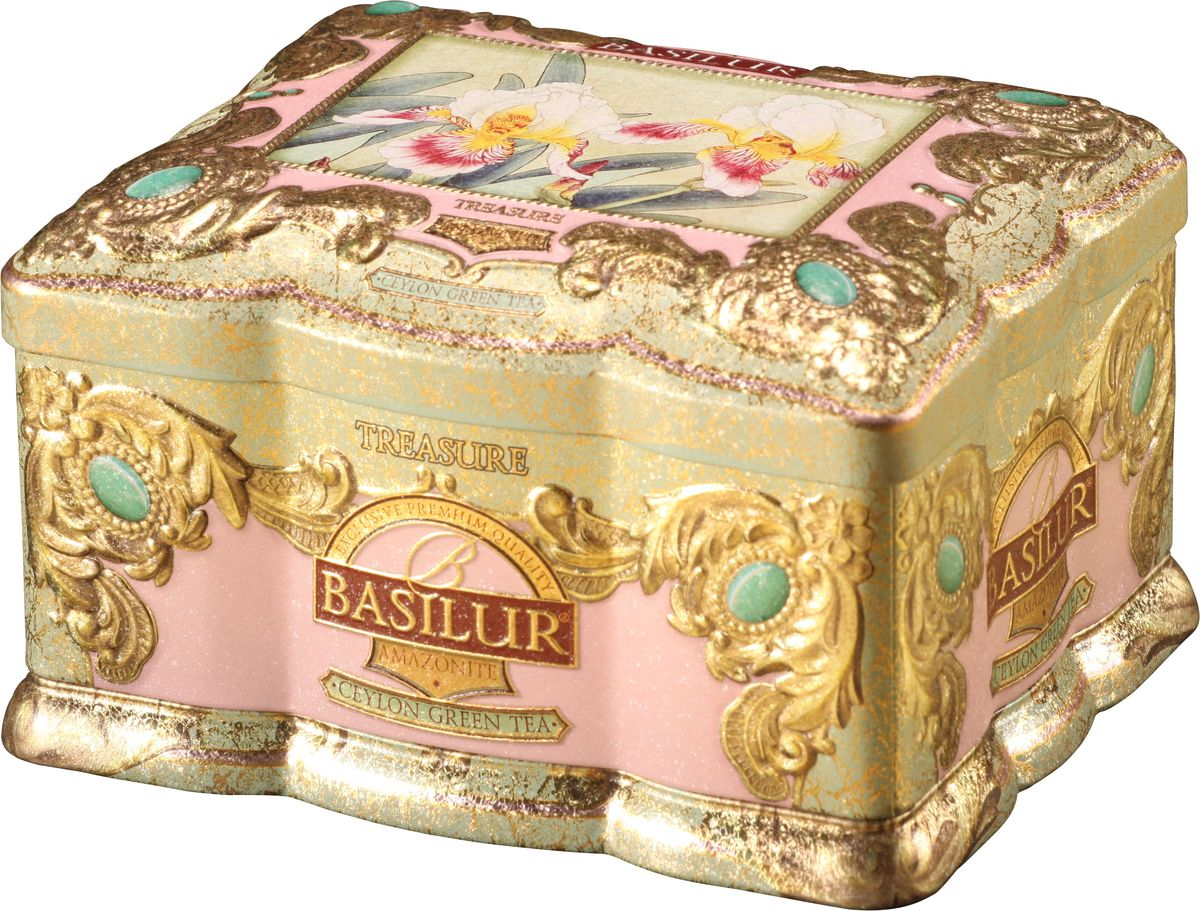 Basilur Amazonite зеленый листовой чай, 100 г (жестяная банка)0120710Basilur Amazonite – ценный чай, который станет настоящим украшением кухни. Байховый зеленый листовой цейлонский чай смешан с лепестками цветов и ароматизирован малиной и тюльпанами. Упаковка с чаем находится в жестяной шкатулке с красивым и ярким дизайном. Basilur Amazonite подарит вам и вашим близким возможность провести вечер за чашечкой прекрасного чая.