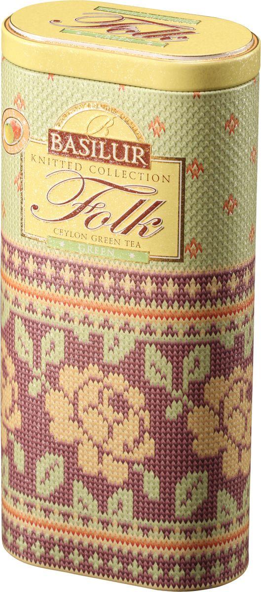 Basilur Folk Green зеленый листовой чай, 100 г (жестяная банка)70140-00Basilur Folk Green - зелёный цейлонский байховый листовой чай с яблоком, лепестками цветов и ароматами яблока и персика в красивой подарочной упаковке.