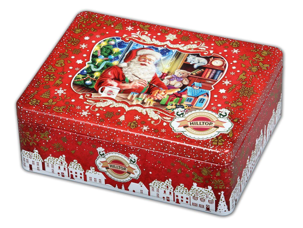 Hilltop Мастерская подарков набор черного и зеленого листового чая (шкатулка)80032-01Hilltop Мастерская подарков это коллекцияпопулярных сортов чая в шкатулках с тематическим оформлением. Жестяная шкатулка с крышкой содержит 4 жестяные чайницы и металлическое заварное ситечко. Праздничная упаковка порадует Вас и Ваших близких в новогодние праздники, а чай послужит прекрасным дополнением к новогоднему застолью!Королевское золото — черный чай стандарта Супер Пеко лучших плантаций Цейлона. Настой с глубоким золотистым цветом и изумительным ароматом.Зимняя вишня — крупнолистовой черный чай с добавлением кусочков ягод вишни. Дивная композиция аромата спелой вишни с ее природным кисло-сладким вкусом.1001 Ночь — загадочная, как звездная ночь Востока, смесь черных и зеленых байховых чаев с лепестками розы, жасмина, подсолнечника и сафлора. Чай с бархатным вкусом и легким ароматом. Ароматизирован натуральными маслами. Китайский зеленый чай — высококачественный байховый крупнолистовой чай с красивым золотистым настоем.