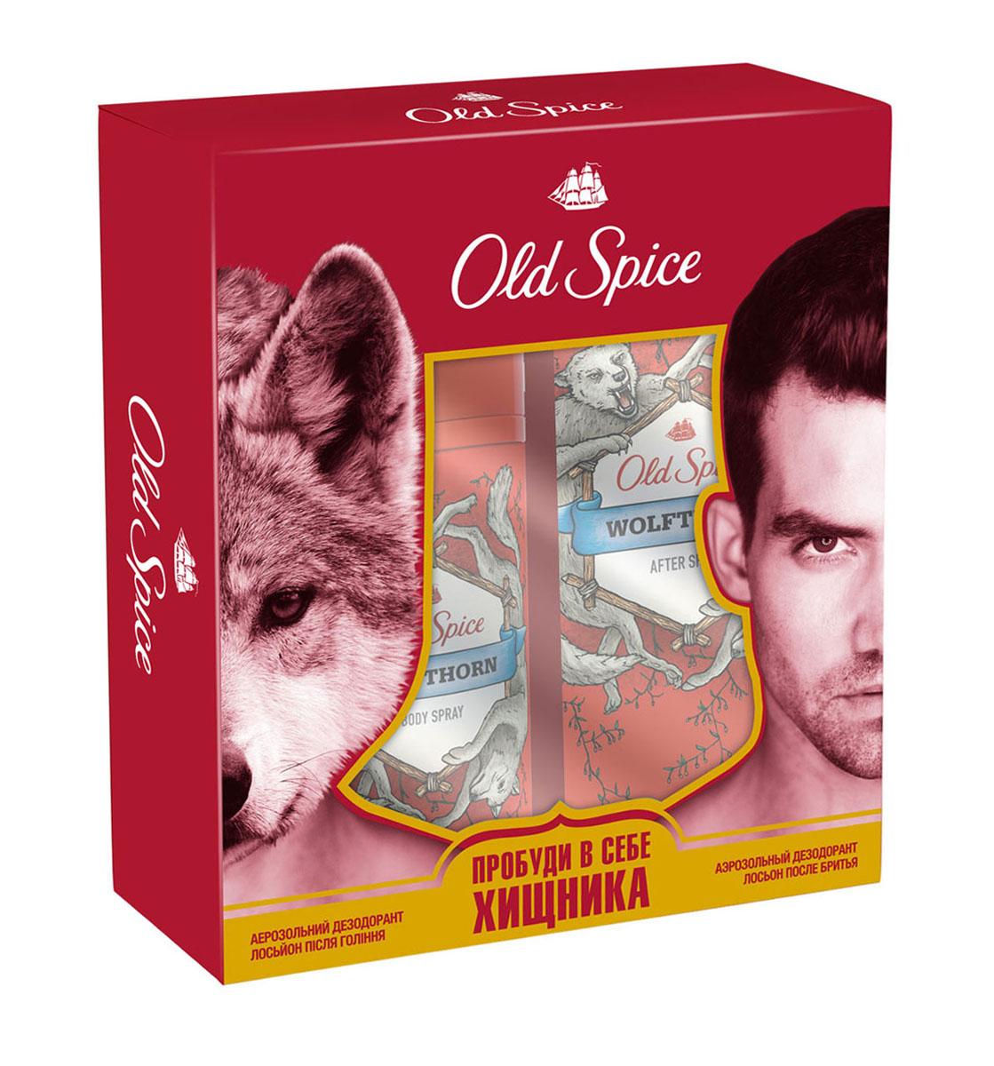 Old Spice Подарочный набор WOLFTHORN: Аэрозольный дезодорант 125 мл + Лосьон после бритья 100мл1301210Пробуди в себе хищника! Old Spice Wolfthorn – это аромат звериного желания и колючей шерсти. Если запах колючей шерсти – это не то, что ты ищешь в аромате, то как насчет этого: Wolfthorn – это аромат нежных поцелуев бабочек и таинственного леденящего взгляда, от которого даже по спинам эскимосов бегут мурашки.