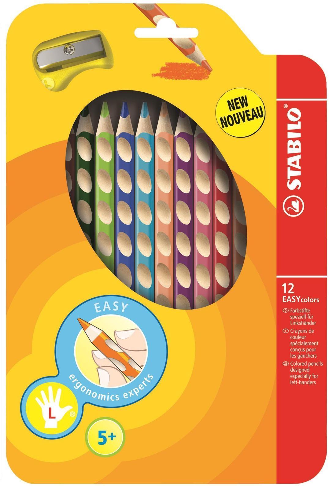 """Набор цветных карандашей """"Stabilo Easycolors"""" предназначен для левшей. Корпус карандашей разработан с учетом особенностей строения руки ребенка. Специальные углубления на корпусе карандаша подсказывают ребенку, как располагать большой и указательный пальцы, прививая первоначальный навык правильно держать пишущий инструмент. Расположение углублений по всей длине корпуса обеспечивает правильное удержание карандаша ребенком при письме и рисовании даже после заточки карандаша. Трехгранная форма карандаша соответствует естественному захвату руки, уменьшая мышечные усилия, необходимые для его удержания. Ребенок может рисовать длительное время без ощущения усталости. Утолщенная форма корпуса облегчает удержание карандашей детьми с недостаточно развитой мелкой моторикой руки. В набор входят карандаши 12 цветов и точилка."""