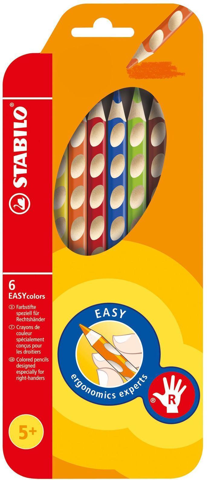 """Набор цветных карандашей """"Stabilo Easycolors"""" предназначен для правшей. Корпус карандашей разработан с учетом особенностей строения руки ребенка. Специальные углубления на корпусе карандаша подсказывают ребенку, как располагать большой и указательный пальцы, прививая навык правильно держать пишущий инструмент. Расположение углублений по всей длине корпуса обеспечивает правильное удержание карандаша ребенком при письме и рисовании даже после заточки карандаша. Трехгранная форма карандаша соответствует естественному захвату руки, уменьшая мышечные усилия, необходимые для его удержания. Ребенок может рисовать длительное время без ощущения усталости. Утолщенная форма корпуса облегчает удержание карандашей детьми с недостаточно развитой мелкой моторикой руки. В набор входят карандаши 6 цветов."""