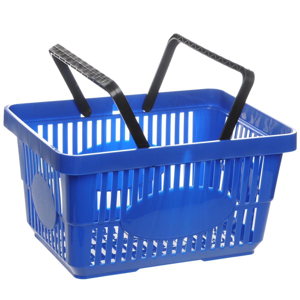 Корзина для покупок Альтернатива, цвет: синий, 42,5 х 30 х 22,5 смTRB312Корзина для покупок Альтернатива изготовлена из прочного пластика и оснащена двумя ручками. Поверхность изделия перфорированная. Корзина предназначена для покупателей продуктовых и строительных гипермаркетов для переноски легких товаров по торговому залу. Также прекрасно подойдет для различных хозяйственных нужд, хранения и транспортировки бытовых предметов.Корзина очень легкая, прочная и не поддается коррозии.