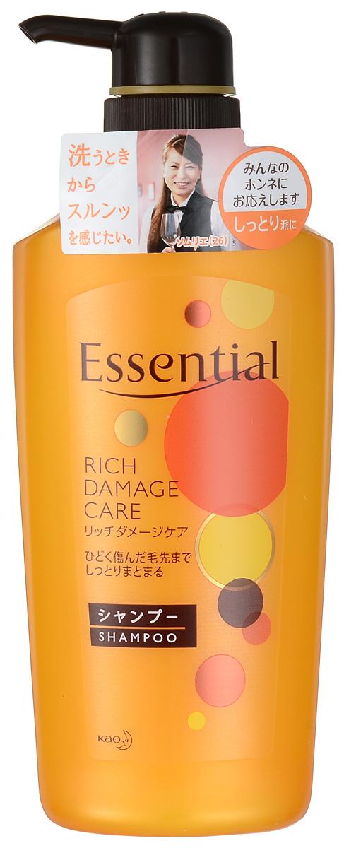 Essential Рич Премия Шампунь для поврежденных волос, 500 млCF5512F4Премиум-шампунь для восстановления сухих, поврежденных, волос с легким ароматом цветов фруктовых деревьев. Шампунь интенсивно увлажняет сухие, окрашенные, сильно поврежденные волосы, питает и восстанавливает их, а также защищает волосы от высыхания при покраске, химической завивке или при использовании фена. Специальная формула двойного концентрирования меда и масла дерева Ши лечит, питает, увлажняет и придает эластичность волосам. Экстракт яблока, входящий в состав шампуня, обладает смягчающими, тонизирующими, освежающими свойствами, наполняет волосы энергией витаминов, поддерживает естественный уровень увлажненности кожи головы и волос, придает шелковистость. Масло жожоба защищает волосы от ломкости, сечения кончиков и способствует росту новых волос. Волосы становятся эластичными, воздушными и объемными, приобретают здоровый блеск благодаря маслу подсолнечника.