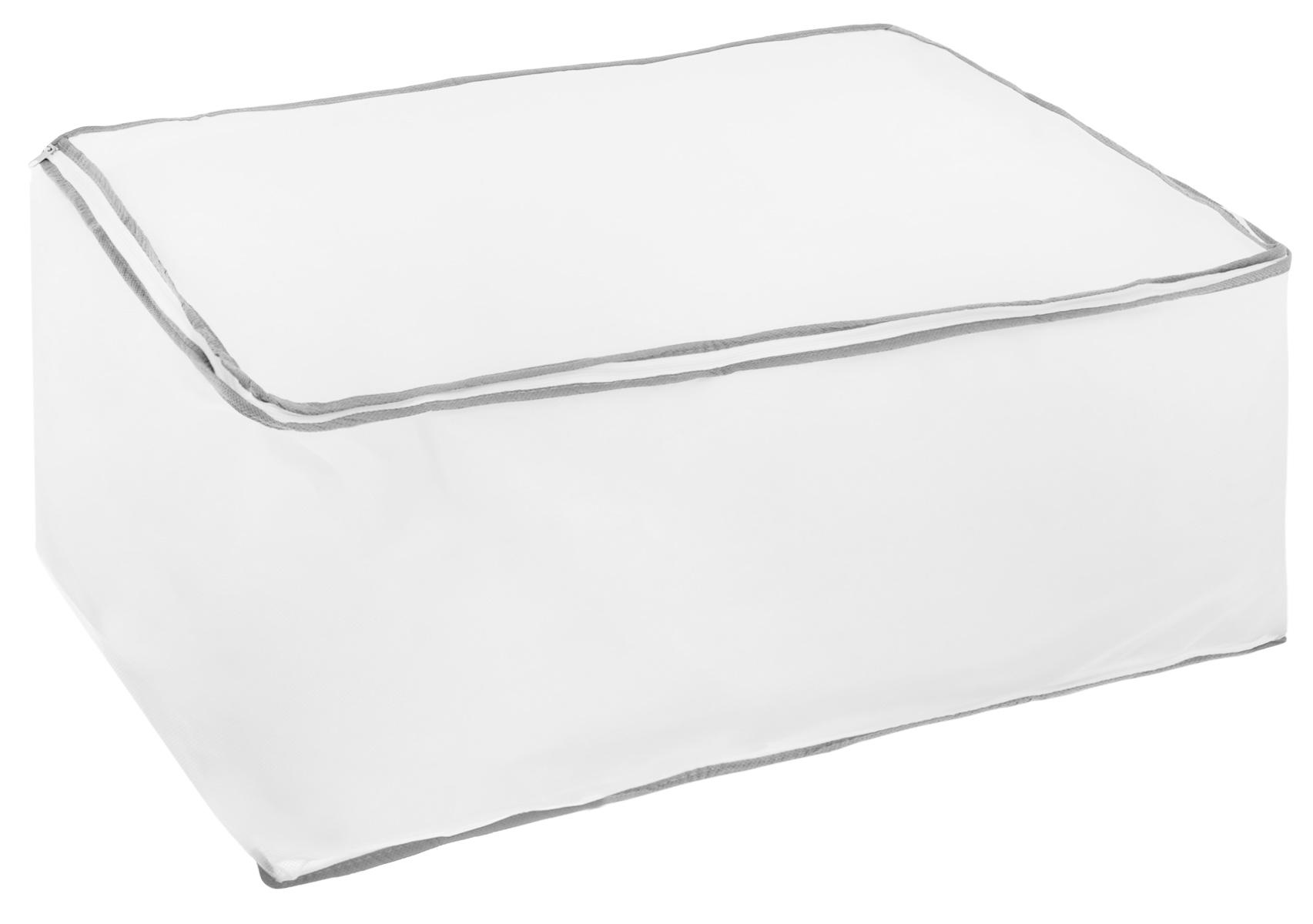 Кофр для хранения Hausmann, цвет: белый, серый, 60 х 40 х 30 смБрелок для ключейКофр Hausmann, предназначенный дляхранения и транспортировки вещей, изготовлен из нетканого материала высокого качества.Особая фактура ткани не пропускает пыль и при этом позволяет воздуху свободно проникать внутрь, обеспечивая естественную вентиляцию. Материал легок, удобен и не образует складок. Особая конструкция позволяет при необходимости одним движением сложить или разложить чехол.