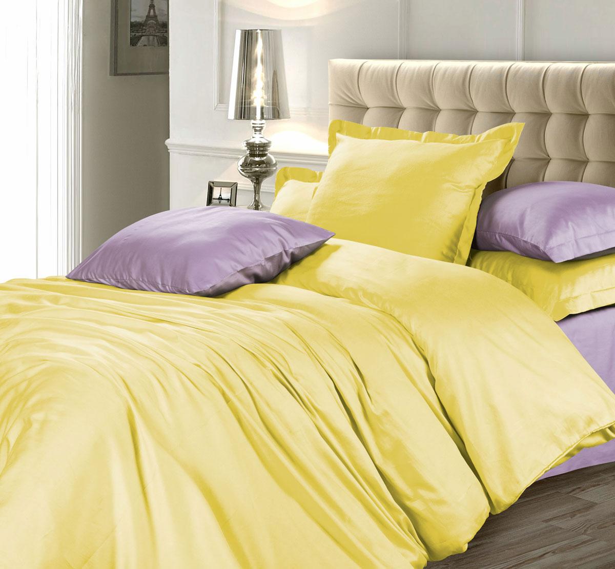 Комплект белья Unison Лимонный фреш, 1,5-спальный, наволочки 70х70, цвет: желтый, фиолетовый2030115100Роскошный комплект постельного белья Unison Лимонный фреш выполнен из натуральной ткани LUX Сатин (из 100% хлопка высшего качества). Комплект состоит из пододеяльника, простыни и двух наволочек.LUX Сатин - мягкий, износостойкий, нежный сатин с благородным шелковистым блеском. Он производится из крученой хлопковой нити по специальной технологии двойного плетения. У этой ткани нет равных по прочности и долговечности, белье из него выдерживает более 300 стирок, сохраняя при этом вид продукта экстра-класса.