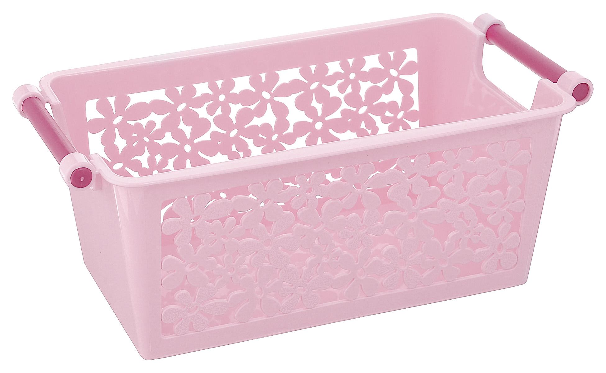 Корзина Альтернатива Романтика, цвет: розовый, фиолетовый, 23 см х 12 см х 9 смCLP446Универсальная корзина Романтика, выполненная из пластика, предназначена для хранения мелочей в ванной, на кухне, на даче или в гараже. Боковые стенки перфорированные. Корзина позволяет хранить мелкие вещи, исключая возможность их потери.