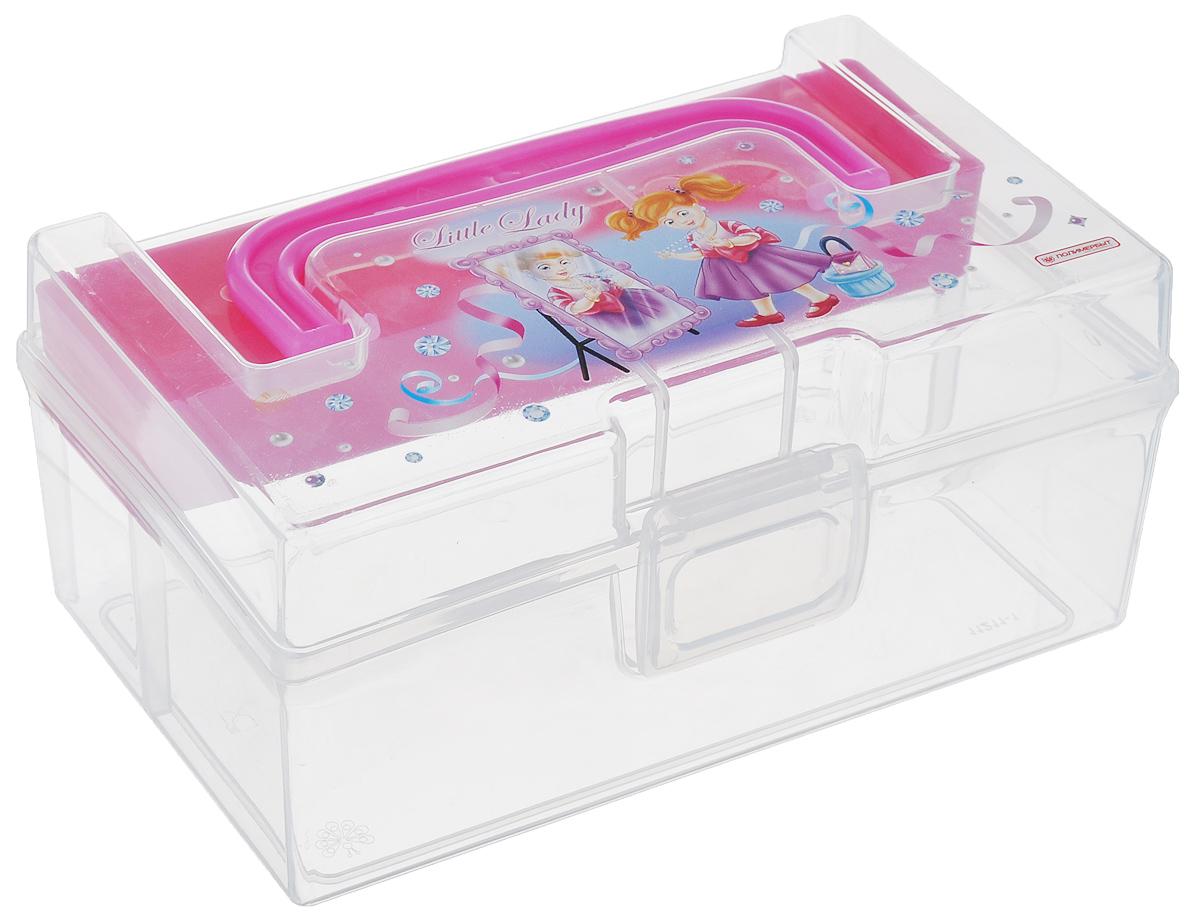 Коробка для мелочей Полимербыт Kids Box, с вкладышем, цвет: розовый, прозрачный, 17 х 10,8 х 7,8 смTRC005Коробка Полимербыт Kids Box выполнена из прочного пластика и подходит для хранения канцелярских принадлежностей, рукоделия и различных бытовых мелочей. Для удобной переноски коробка имеет ручку. Изделие оснащено вкладышем, который служит дополнительным местом для хранения. Коробка оформлена красочным изображением.