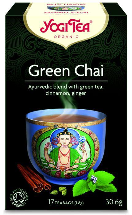 Yogi Tea Green Chai травяной чай в пакетиках, 17 шт0120710Аюрведическая чайная смесь Yogi Tea Green Chai с зелёным чаем, корицей и имбирём.Секрет исключительного вкуса этого редкого зелёного чая заключается в добавлении к нему ароматной перечной мяты, кардамона и сладкой корицы. Этот удивительно сбалансированный чай можно пить как горячим, так и холодным. Насладитесь этим чаем в индийской традиции – с сахаром и добавлением молока или заменителя молока. Девиз этого чая: Радостное очарование, Человеческая душа – это как золото в пыли, она никогда не перестаёт сверкать.Мы, люди, являемся целостными существами - с телом, разумом и душой. Для хорошего самочувствия нам необходимо осознанно относиться к питанию, заниматься физическими упражнениями для поддержки нашего тела, а также заботиться о духовном наполнении нашего разума и души. Yogi Tea дарит вдохновение с каждой чашкой чая. С помощью мудрых афоризмов на каждом чайном ярлычке и вдохновляющих йога упражнений на каждой упаковке, мы приглашаем вас обрести баланс вашего тела, души и духа, в то время как вы наслаждаетесь чашкой изысканного чая Yogi. Аюрведа - древнейшая система осознанного и здорового образа жизни, которая зародилась в Индии более 5000 лет назад. Впервые распространившись на Запад в 60-е годы прошлого века, она часто именуется, как наука жизни. Само слово Аюрведа образовано от двух слов: Аюр - жизнь, и Веда - наука или знание. В 1969 году Йоги Бхаджан, Мастер Кундалини Йоги, учитель и вдохновитель целостного образа жизни, начал преподавать йогу на Западе. Он делился со своими учениками мудростью и знаниями о здоровом образе жизни и использовании в питании определённых трав и пряностей. Бхаджан часто угощал учеников ароматным и приятным на вкус чаем с пряностями, который они называли чай Йоги. Сегодня такое же вдохновение можно найти в каждой чашке чая Yogi Tea.Аюрведическая информация: V-PoKo.