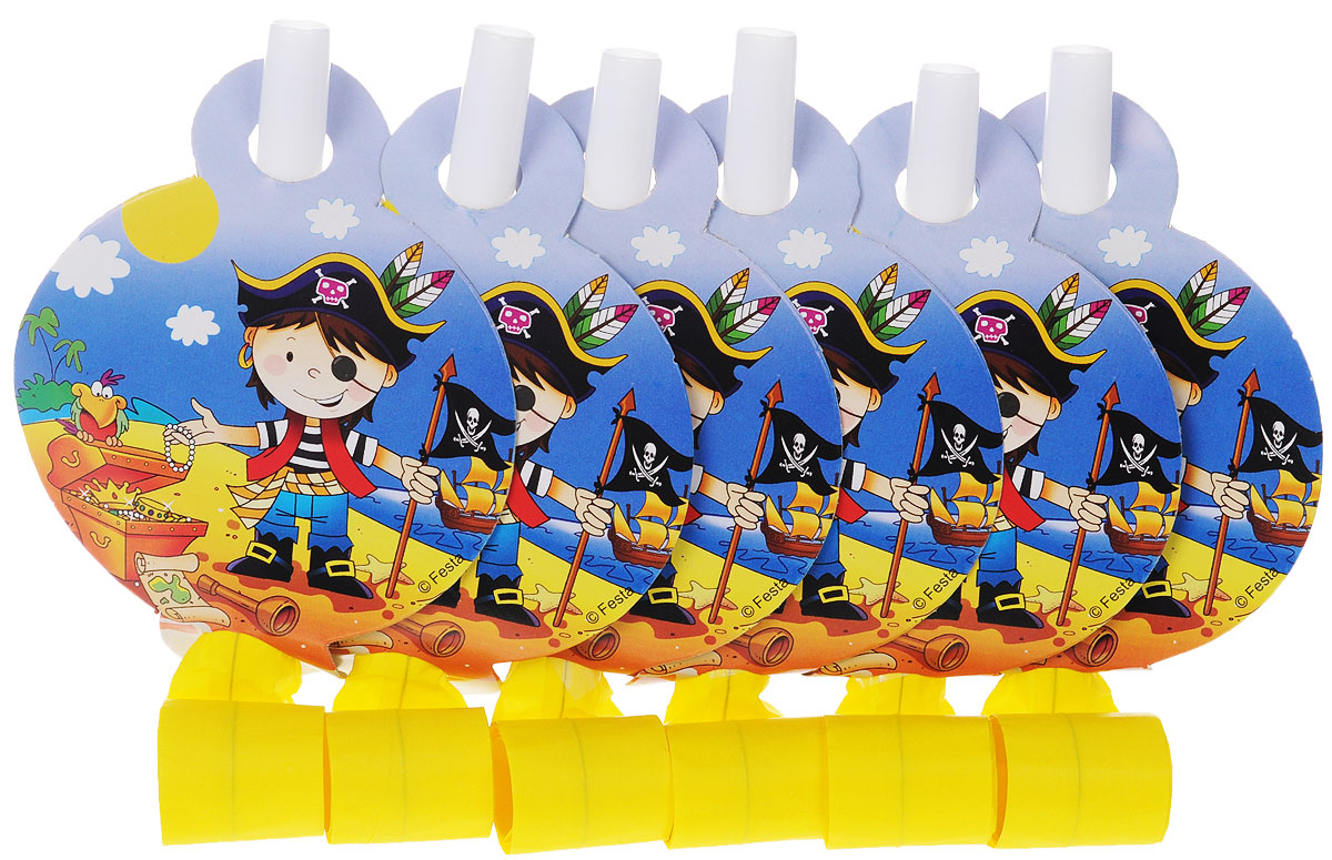 """Веселая затея Язык-гудок """"Маленький пират"""", с карточкой, 6 шт, General Consolidated Impex Company"""