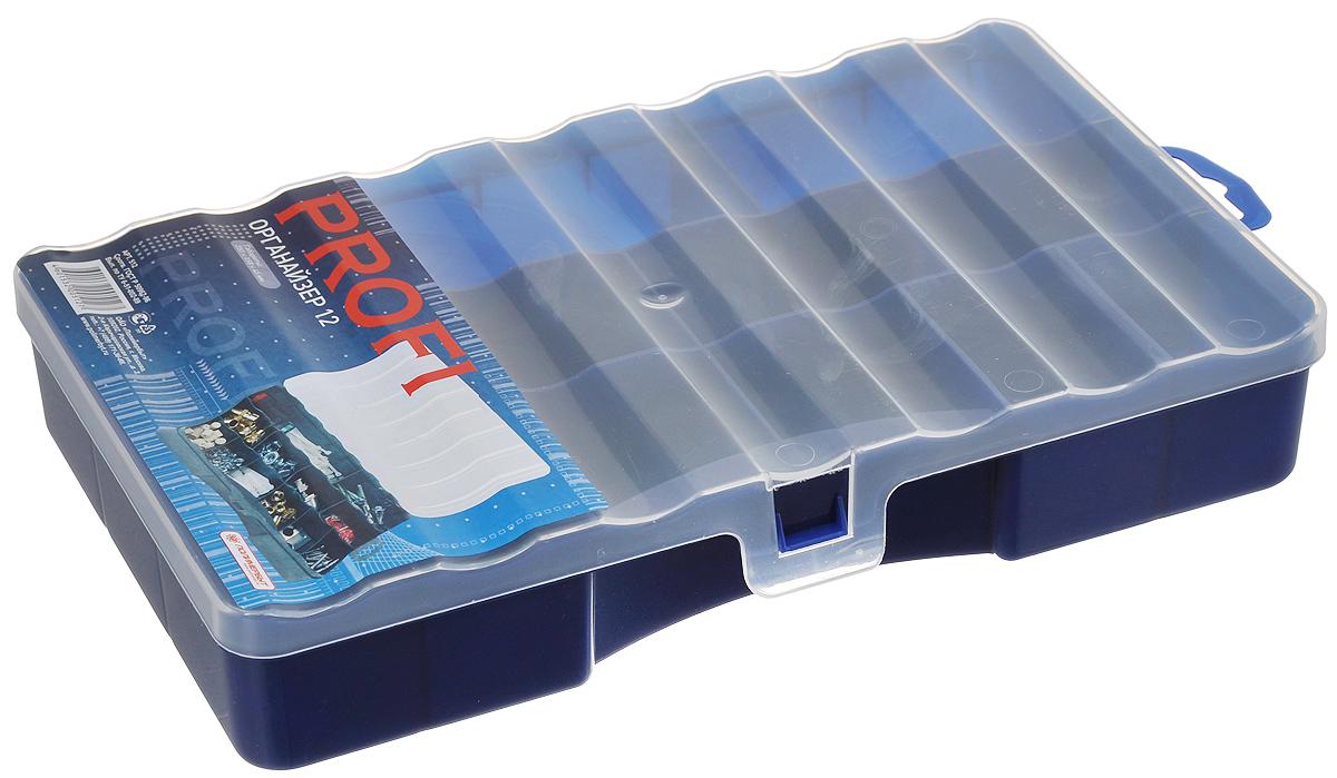 Органайзер Профи 12, цвет: темно-синий, прозрачный, 25 х 15,8 х 4,5 смTRC006Органайзер Профи 12 выполнен из высококачественного пластика и предназначен для хранения различных мелочей. В органайзере имеется 12 ячеек, размер которых позволяет хранить в них различные бусины, мелочи для рукоделия, например, бисер, блестки, стразы и другое. Изделие плотно закрывает прозрачной крышкой с защелкой. С таким органайзером у вас всегда будет порядок на вашем рабочем столе.