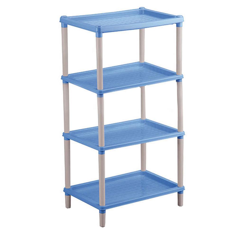 Этажерка Бытпласт Флавия, 4-х секционная, цвет: голубой, 42 см х 29 см х 81 смС12411Этажерка Бытпласт Флавия выполнена из высококачественного прочного пластика и предназначена для хранения различных предметов. Изделие имеет 4 полки прямоугольной формы. В ванной комнате вы можете использовать этажерку для хранения шампуней, гелей, жидкого мыла, стиральных порошков, полотенец и многого другого. Ручной инструмент и детали в вашем гараже всегда будут под рукой. Удобно ставить банки с краской, бутылки с растворителем. В гостиной этажерка позволит удобно хранить под рукой книги, журналы, газеты. С помощью этажерки также легко навести порядок в детской, она позволит удобно и компактно хранить игрушки, письменные принадлежности и учебники. Этажерка - это идеальное решение для любого помещения. Она поможет поддерживать чистоту, компактно организовать пространство и хранить вещи в порядке, а стильный дизайн сделает этажерку ярким украшением интерьера.Размер этажерки (ДхШхВ): 42 см х 29 см х 81 см. Размер полки (ДхШхВ): 42 см х 29 см х 2 см.