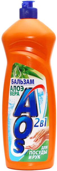 Жидкость для мытья посуды AOS Бальзам. Алоэ вера, 1 л жидкость для мытья посуды aos лимон 500 мл