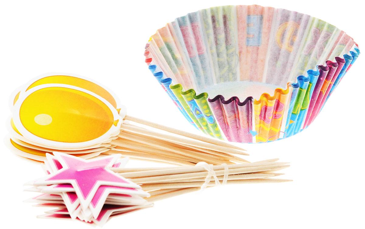 Хотите удивить гостей на дне рождения? Просто украсьте стол самодельными кексами в ярких тарталетках с лоскутным рисунком! В набор входят 24 праздничные тарталетки, 12 пик для украшения маффинов с шариком и 12 пик со звездой. Вы также можете использовать пики отдельно как шпажки для канапе. Бумажные тарталетки можно использовать для упаковки или для непосредственной выпечки кексов. Чтобы приготовить угощения в тарталетках, вы можете предварительно поставить их в поддерживающую силиконовую или металлическую форму, заполнить тестом и выпекать кексы. Второй вариант использования - поставить в тарталетки уже готовую выпечку, монпасье, сухофрукты, орешки и другие сладости. Тарталетки не обязательно заполнять сладким, с таким же успехом можно насыпать в них алмазы и рубины, пиастры и дублоны!