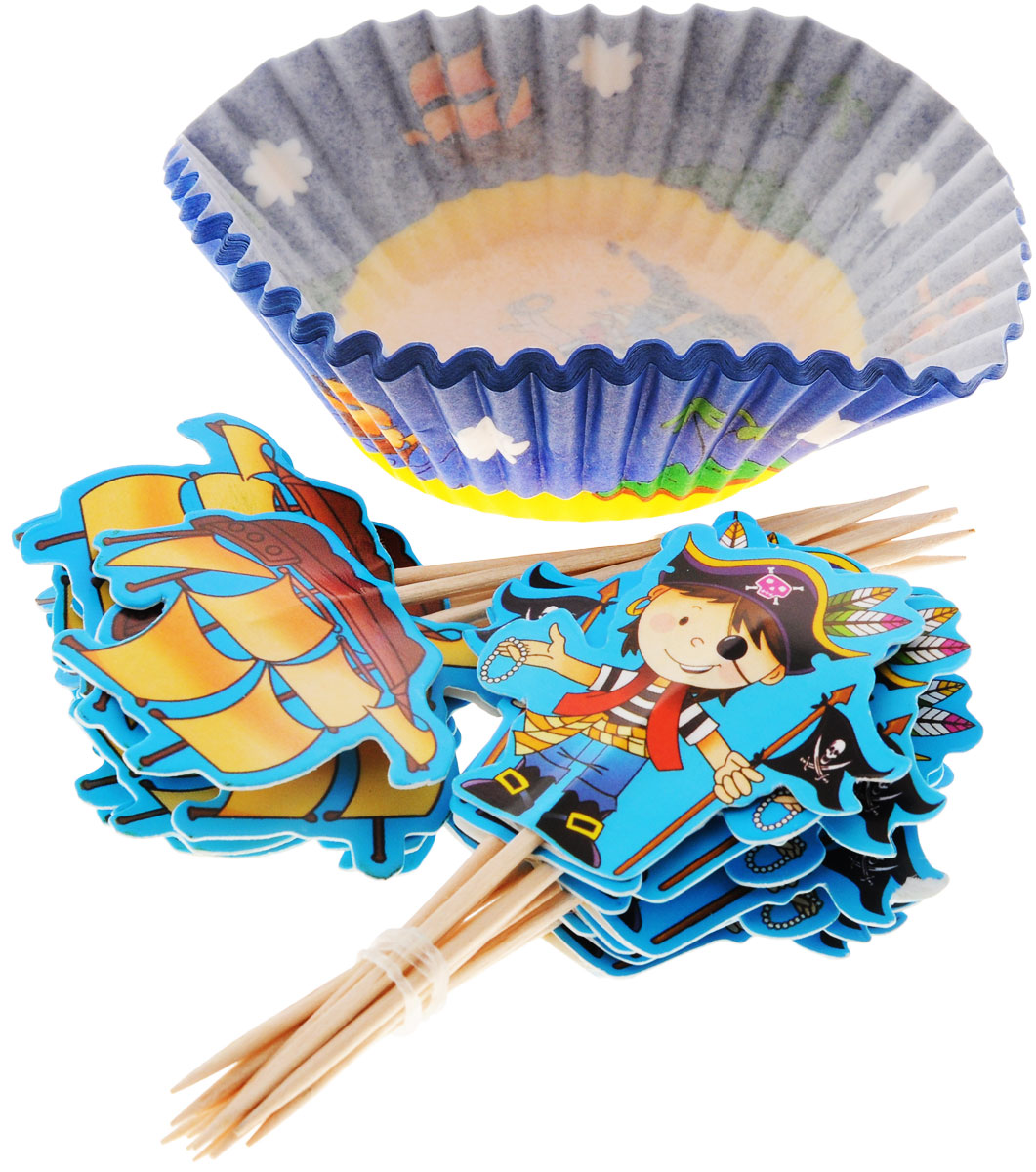 Украсьте пиратский праздник тарталетками с островом сокровищ! В набор входят 24 корсарские тарталетки, 12 пик для украшения маффинов с пиратом и 12 пик с корабликом. Вы также можете использовать пики отдельно как шпажки для канапе. Бумажные тарталетки можно использовать для упаковки или для непосредственной выпечки кексов. Чтобы приготовить угощения в тарталетках, вы можете предварительно поставить их в поддерживающую силиконовую или металлическую форму, заполнить тестом и выпекать кексы. Второй вариант использования - поставить в тарталетки уже готовую выпечку, монпасье, сухофрукты, орешки и другие сладости. Тарталетки не обязательно заполнять сладким, с таким же успехом можно насыпать в них алмазы и рубины, пиастры и дублоны!