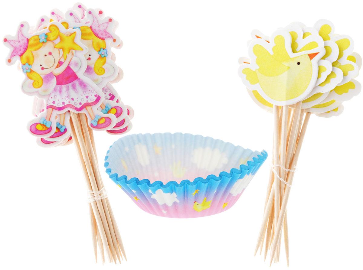 Украсьте день рождения юной феи тарталетками с птичками, звездами и облаками! В набор входят 24 праздничные тарталетки, 12 пик для украшения маффинов с птичкой и 12 пик с феей. Вы также можете использовать пики отдельно как шпажки для канапе. Бумажные тарталетки можно использовать для упаковки или для непосредственной выпечки кексов. Чтобы приготовить угощения в тарталетках, вы можете предварительно поставить их в поддерживающую силиконовую или металлическую форму, заполнить тестом и выпекать кексы. Второй вариант использования - поставить в тарталетки уже готовую выпечку, монпасье, сухофрукты, орешки и другие сладости. Тарталетки не обязательно заполнять сладким, с таким же успехом можно насыпать в них алмазы и рубины, пиастры и дублоны!