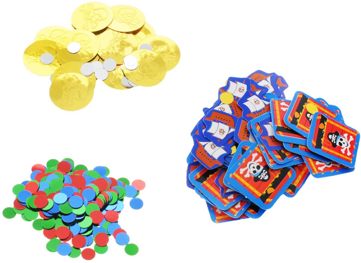 Разноцветное пиратское конфетти в трех дизайнах: цветные круги; золотые монеты с черепами и серебряные круги; бумажные пиратские корабли и сундуки с сокровищами. Яркое конфетти - неотъемлемый атрибут праздников, в основном, балов, карнавалов, триумфальных шествий, а также дней рождений и свадебных торжеств. Конфетти осыпают друг друга участники празднеств или его сбрасывают сверху. Конфетти, рассыпанное на столе, является необычной и привлекательной формой украшения праздничного застолья. Еще один оригинальный способ порадовать друзей и близких - насыпьте конфетти в конверт с открыткой - это будет неожиданный сюрприз! Также конфетти - прекрасный материал для рукоделия.
