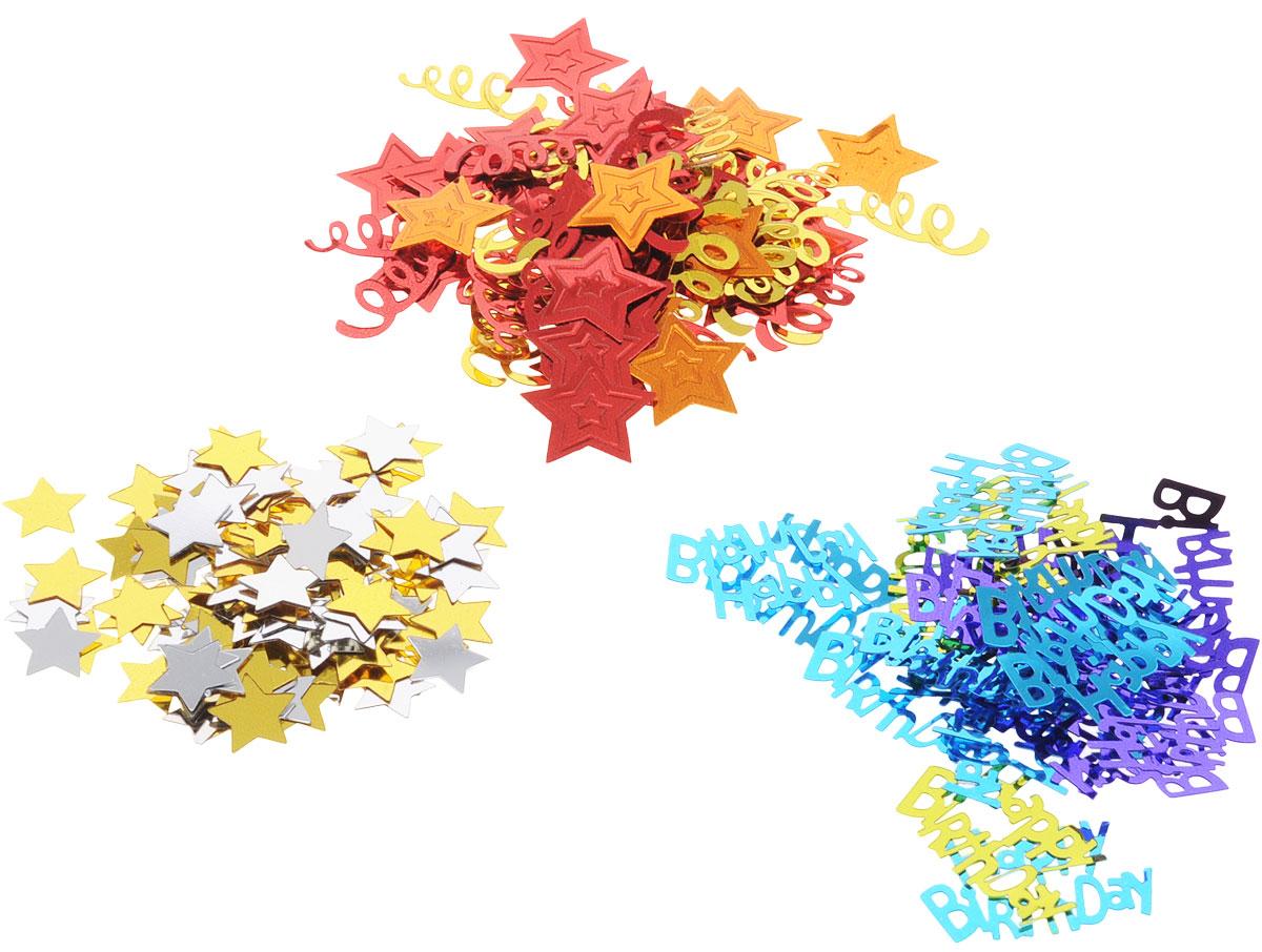 """Конфетти для именинника представлено в трех дизайнах: надпись """"Happy Birthday"""" в золотых, фиолетовых и голубых вариантах; красные и апельсиновые звезды и серпантин; золотые и серебряные звездочки. Яркое конфетти - неотъемлемый атрибут праздников, в основном, балов, карнавалов, триумфальных шествий, а также дней рождений и свадебных торжеств. Конфетти осыпают друг друга участники празднеств или его сбрасывают сверху. Конфетти, рассыпанное на столе, является необычной и привлекательной формой украшения праздничного застолья. Еще один оригинальный способ порадовать друзей и близких - насыпьте конфетти в конверт с открыткой - это будет неожиданный сюрприз! Также конфетти - прекрасный материал для рукоделия."""