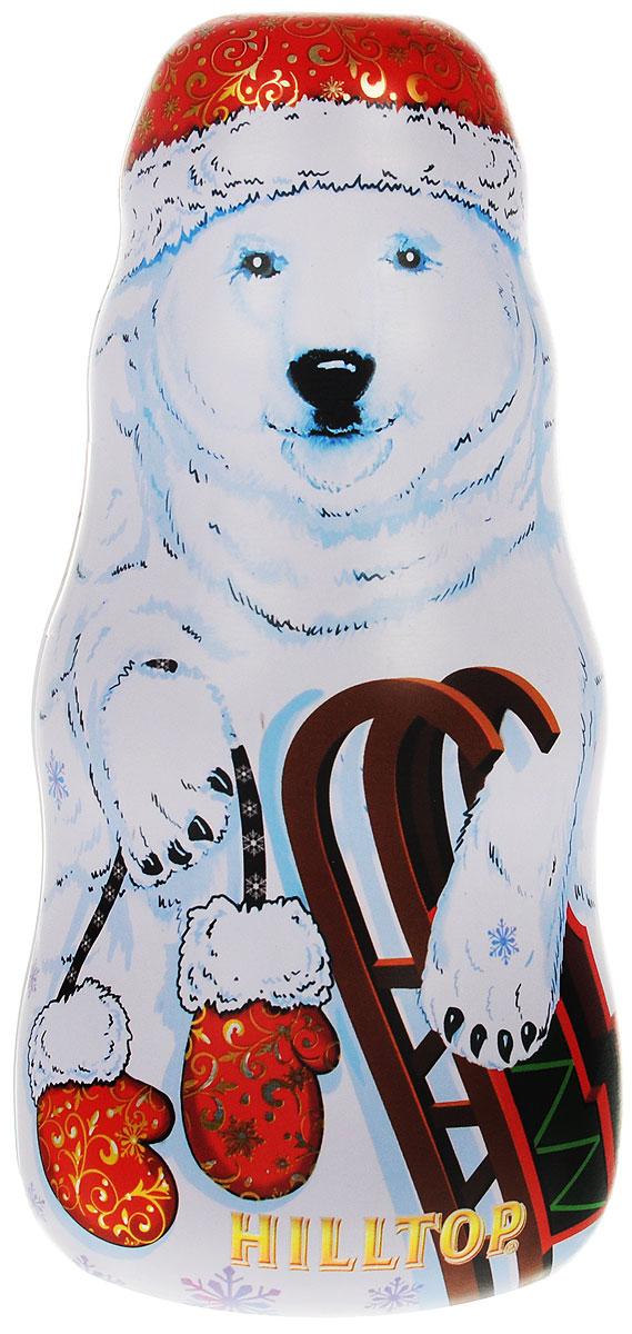 Hilltop Белый медведь Праздничный черный листовой чай, 100 г0120710Праздничный крупнолистовой черный чай в сочетании с цветами календулы и василька спрятан в подарочной упаковке чая Hilltop Белый медведь. Смесь содержит сладкие цукаты манго и банана, и своим фруктовым ароматом согреет вас зимними вечерами. Необычный дизайн упаковки в виде снеговика позволит украсить ваш дом или просто поставить его под новогоднюю елку!
