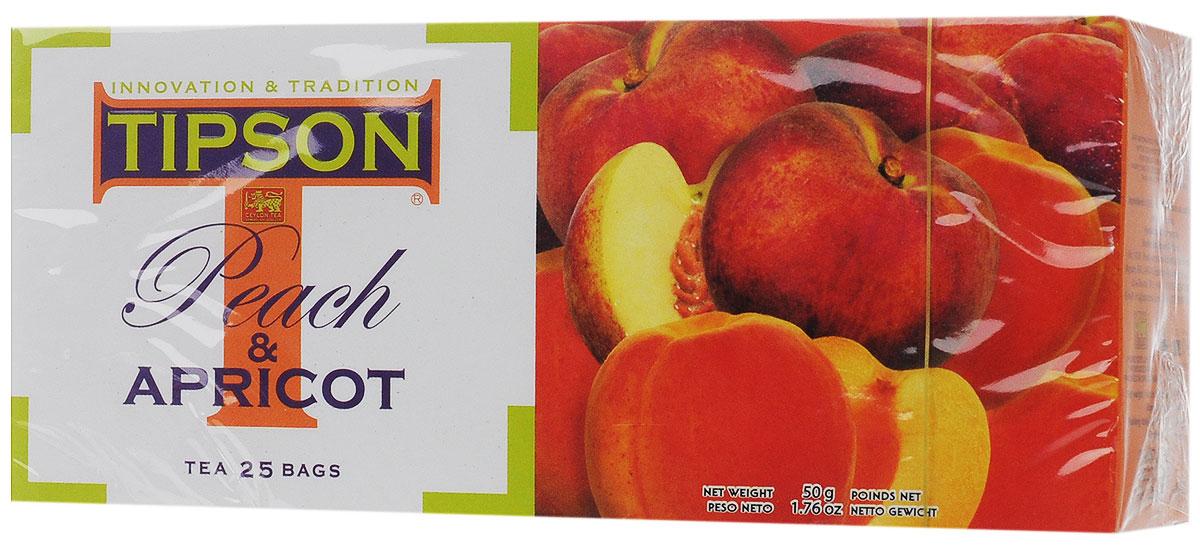 Tipson Peach & Apricot черный чай в пакетиках, 25 шт0120710Чай чёрный цейлонский байховый листовой Tipson Peach & Apricot с ароматами персика и абрикоса в пакетиках с ярлычками для разовой заварки. Нежный, сладковатый аромат персика и абрикоса, в сочетании с терпким вкусом чёрного цейлонского чая, создаёт яркую индивидуальность этого восхитительного напитка, который приятно употреблять как в горячем, так и в охлаждённом виде.