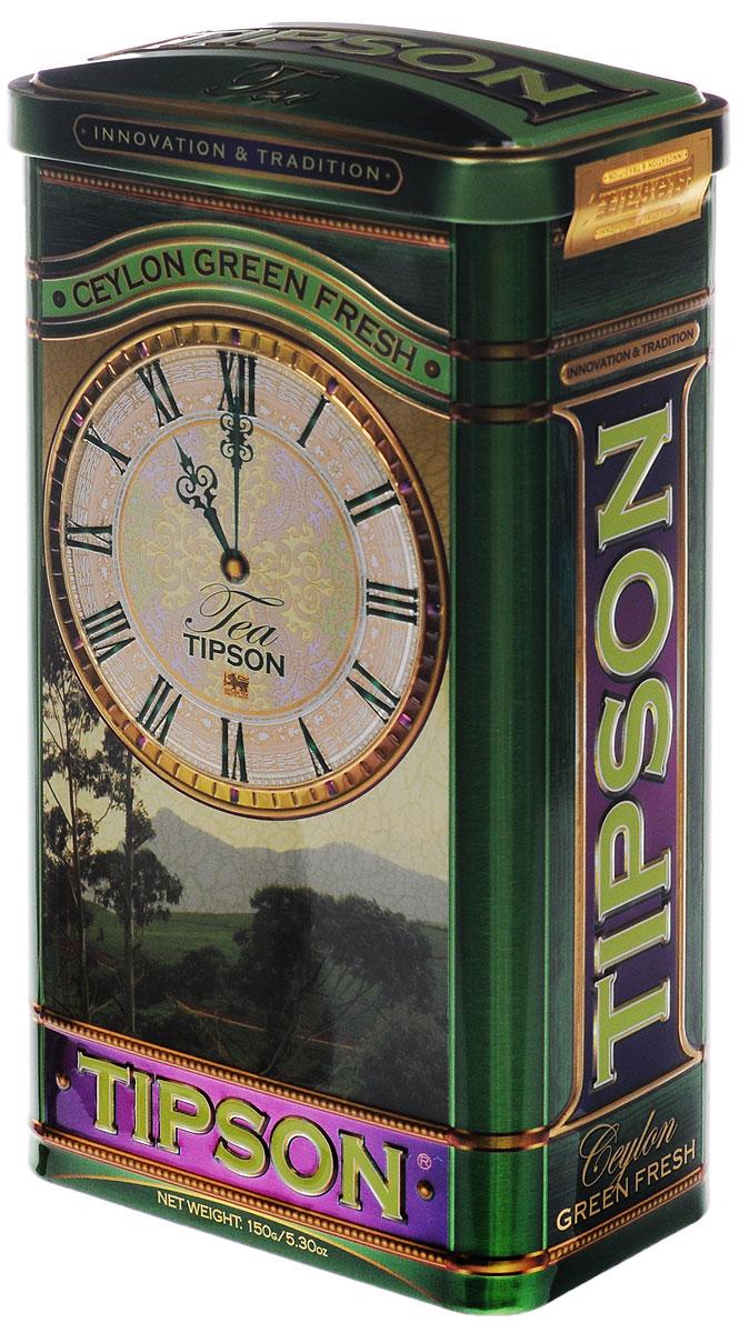 Tipson Green Fresh зеленый листовой чай, 150 г (жестяная банка)0120710Крупнолистовой чай Tipson Green Fresh обладает ярко-выраженной терпкой ноткой. В приготовлении чая использованы самые нежные и молодые чайные листья, что придает чаю целебные свойства и гармоничный вкус.