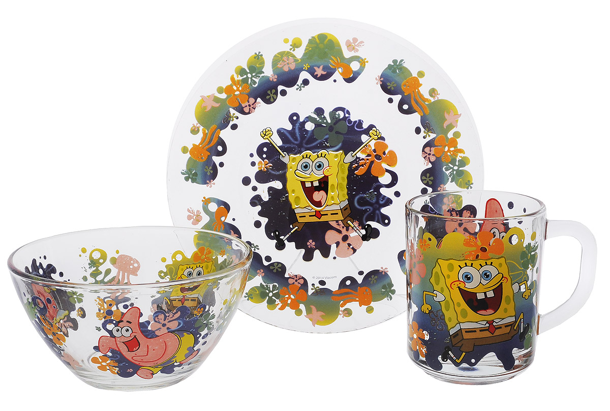 Губка Боб Набор посуды Водный мир, 3 предмета6829000000Красочный набор посуды Губка Боб, выполненный из качественного стекла, идеально подойдет для повседневного использования.В комплект входят: тарелка диаметром 19,5 см, салатник диаметром 13 см и кружка объемом 250 мл. Все предметы выполнены в оригинальном дизайне с изображением забавных героев из мультфильма Губка Боб. Набор упакован в коробку из плотного картона.Набор посуды непременно доставит массу удовольствия своему обладателю.Допустимо использование в посудомоечной машине и СВЧ. Рекомендуется для детей от: 3 лет.