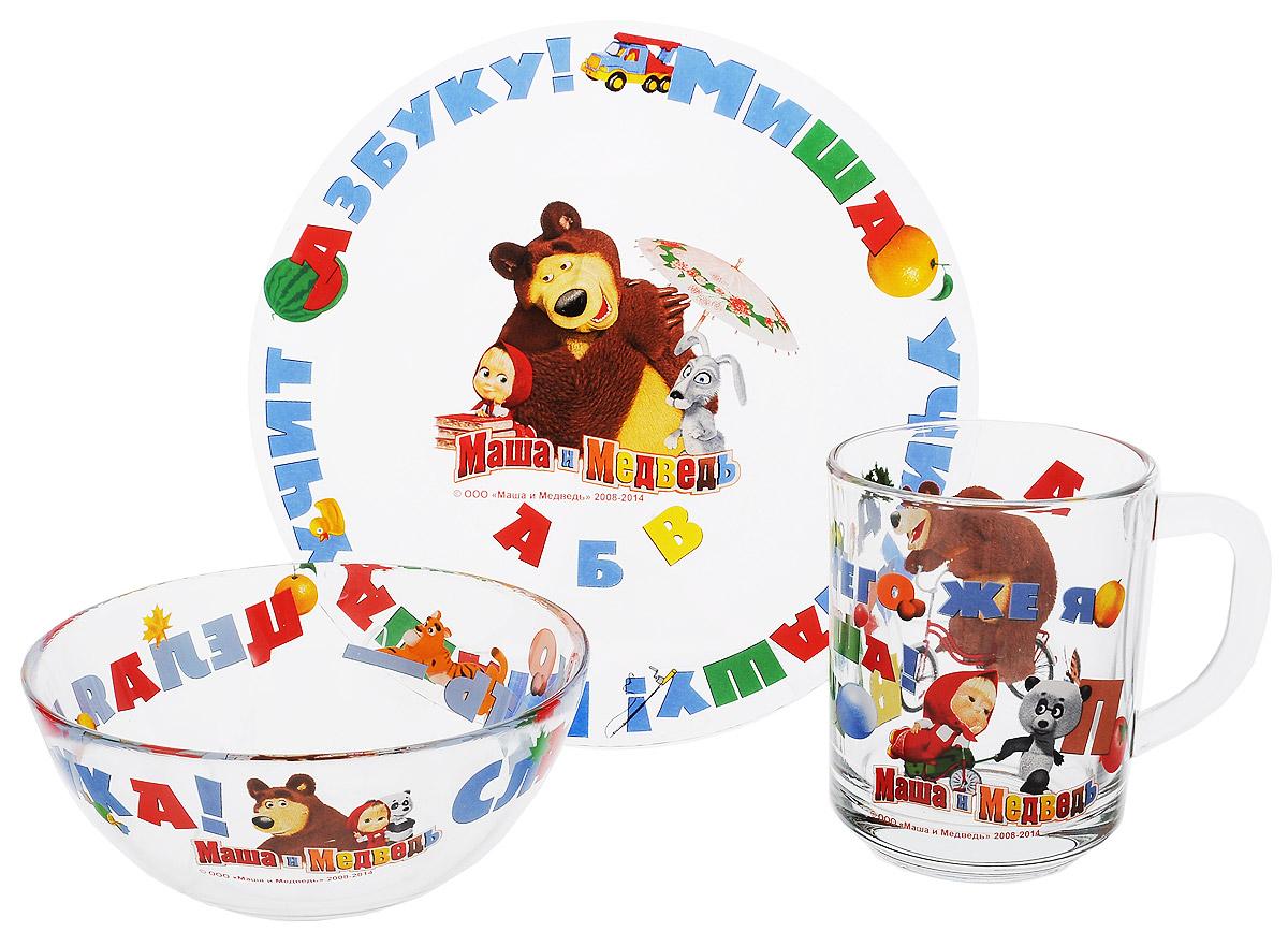 Маша и Медведь Набор посуды Азбука, 3 предмета115510Красочный набор посуды Маша и Медведь. Азбука, выполненный из качественного стекла, идеально подойдет для повседневного использования.В комплект входят: тарелка с диаметром 19 см, салатник объемом 500 мл и кружка объемом 250 мл. Все предметы выполнены в оригинальном дизайне с изображением забавных героев из мультфильма Маша и Медведь. Набор упакован в коробку из плотного картона.Набор посуды непременно доставит массу удовольствия своему обладателю. Допустимо использование в посудомоечной машине и СВЧ. Рекомендуется для детей от: 3 лет.
