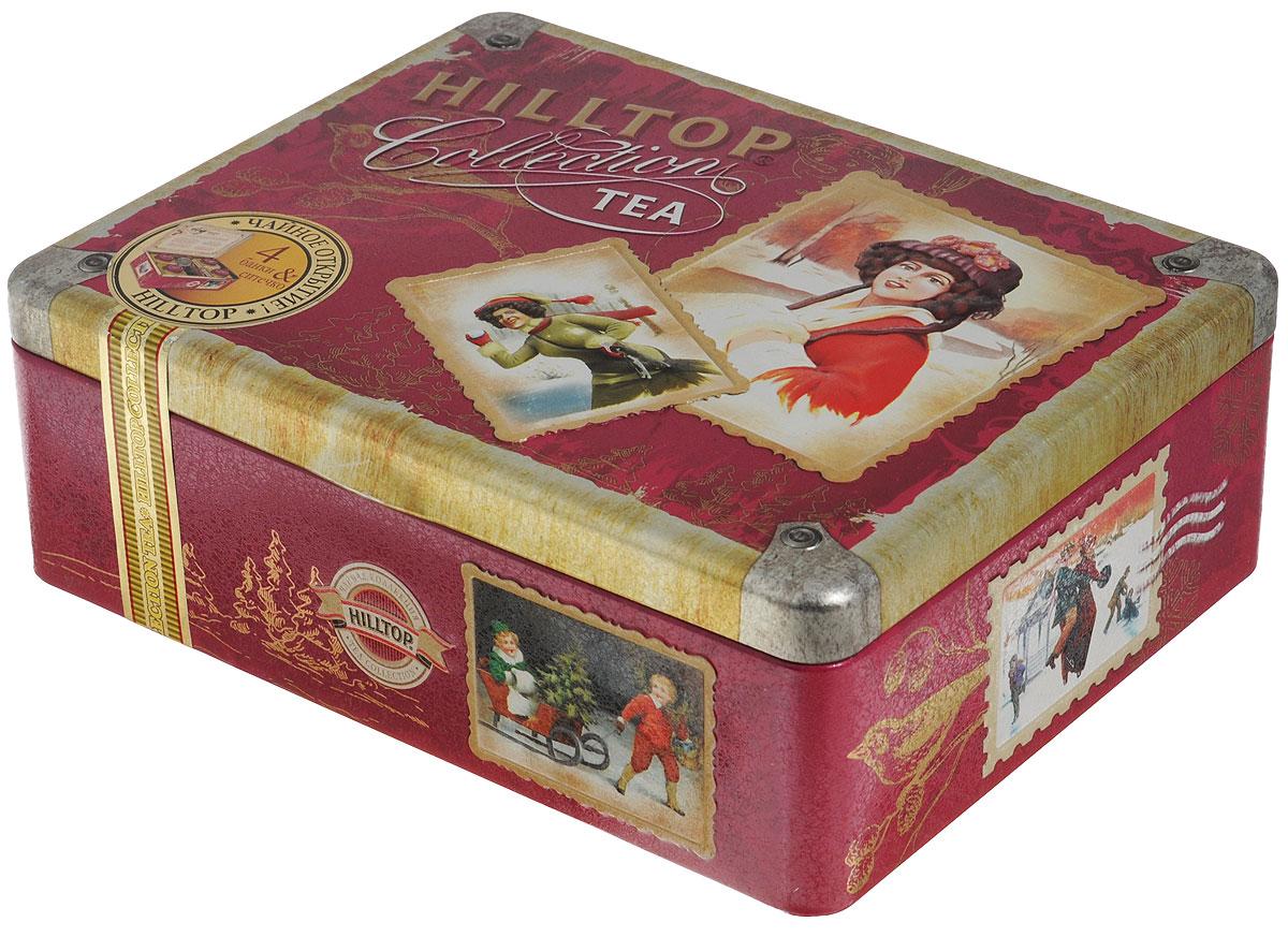 Hilltop Ретро-чемоданчик набор черного и зеленого листового чая (шкатулка)70169-00Hilltop Ретро-чемоданчикхорош для посиделок в семейном кругу... или — в компании лучших друзей! Жестяная шкатулка с крышкой и четырьмя жестяными чайницами, а также металлическое заварное ситечко в комплекте просто созданы для того, чтобы организовать чаепитие!Цейлонский чай — особый сорт черного цейлонского байхового среднелистового чая, содержащий большое количество эфирных масел, с богатым вкусом, насыщенным ароматом и выраженным тонизирующим эффектом.Волшебная луна — необычная смесь цейлонского черного чая и зеленого чая Сенча. Необычная, как сама тайна... С добавлением лепестков подсолнечника, розы, плодов шиповника и кусочков папайи. С нотами натурального масла дыни, смородины, земляники и абрикоса.Спешиал Ганпауда — зеленый чай с насыщенным терпким вкусом.