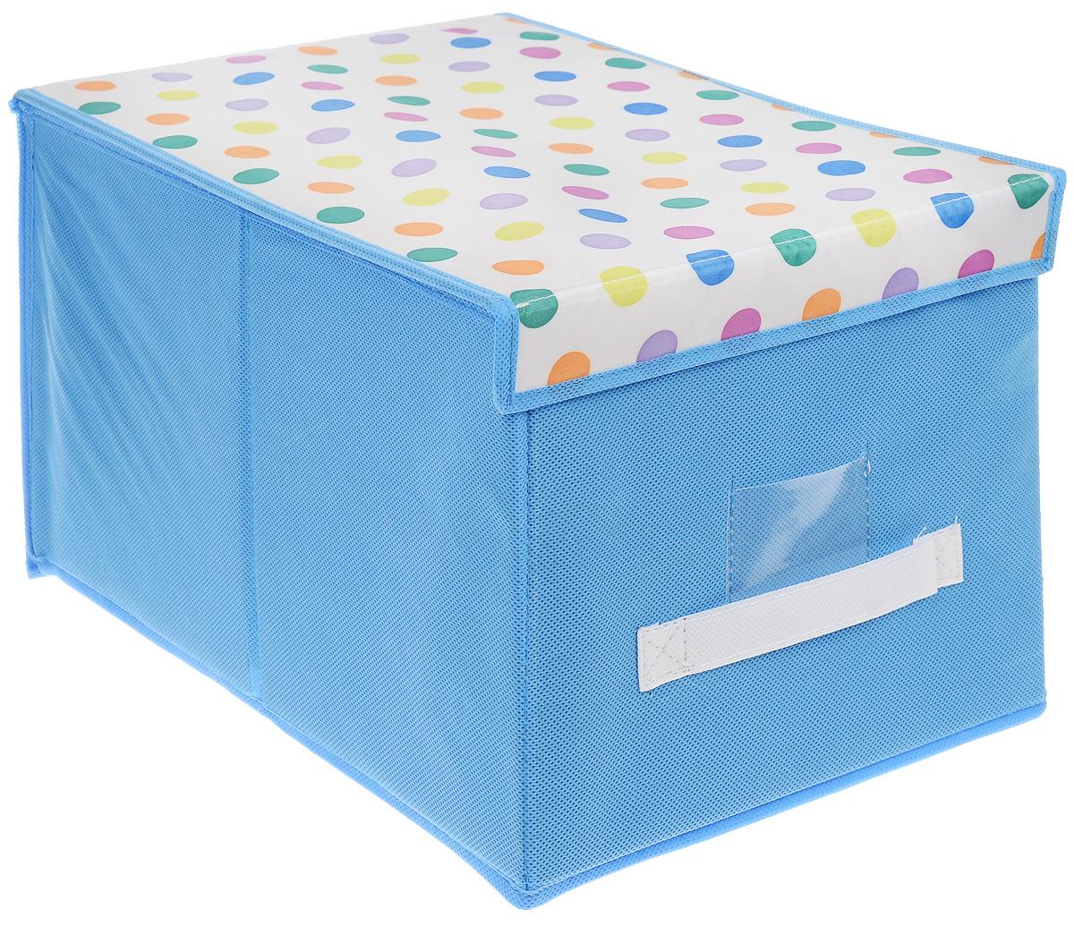 Чехол-коробка для хранения вещей Voila Kids, цвет: голубой, белый, 30 х 40 х 25 смМ1310_голубойЧехол-коробка Voila Kids выполнен из полипропилена. Изделие предназначено для хранения вещей. Он защитит вещи от повреждений, пыли, влаги и загрязнений во время хранения и транспортировки. Чехол-коробка идеально подходит для хранения детских вещей и игрушек. Жесткий каркас из плотного толстого картона обеспечивает устойчивость конструкции. Крышка, оформленная принтом горох, закрывается на липучки. В прозрачном окне-кармашке на передней стенке чехла можно поместить бумажную этикетку с указанием содержимого чехла-коробки.