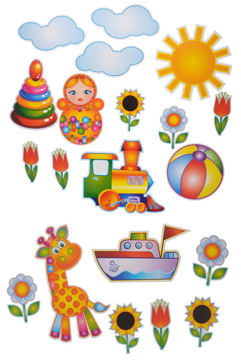 """Баннер-комплект Веселая затея """"Страна игрушек"""" станет отличным украшением праздника. В комплект входит баннер с изображением жирафа, матрешки, паровоза, мячика, пирамиды, кораблика, солнышка, облаков, ромашек, подсолнухов, тюльпанов, а также клеевая пластинка. Благодаря клеевой пластинке баннеры легко крепятся к любой ровной поверхности без дополнительного использования скотча или клея."""