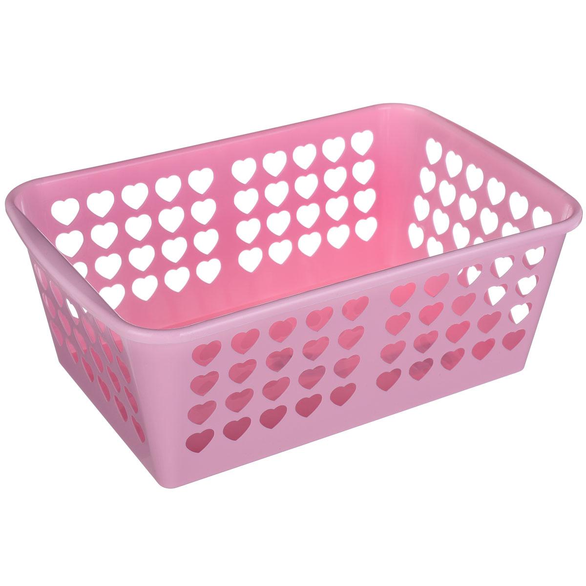 Корзина Альтернатива Вдохновение, цвет: розовый, 30 см х 20 см х 11,5 смTD 0033Корзина Альтернатива Вдохновение выполнена из пластика и оформлена перфорацией в виде сердечек. Изделие имеет сплошное дно и жесткую кромку. Корзина предназначена для хранения мелочей в ванной, на кухне, на даче или в гараже. Позволяет хранить мелкие вещи, исключая возможность их потери.