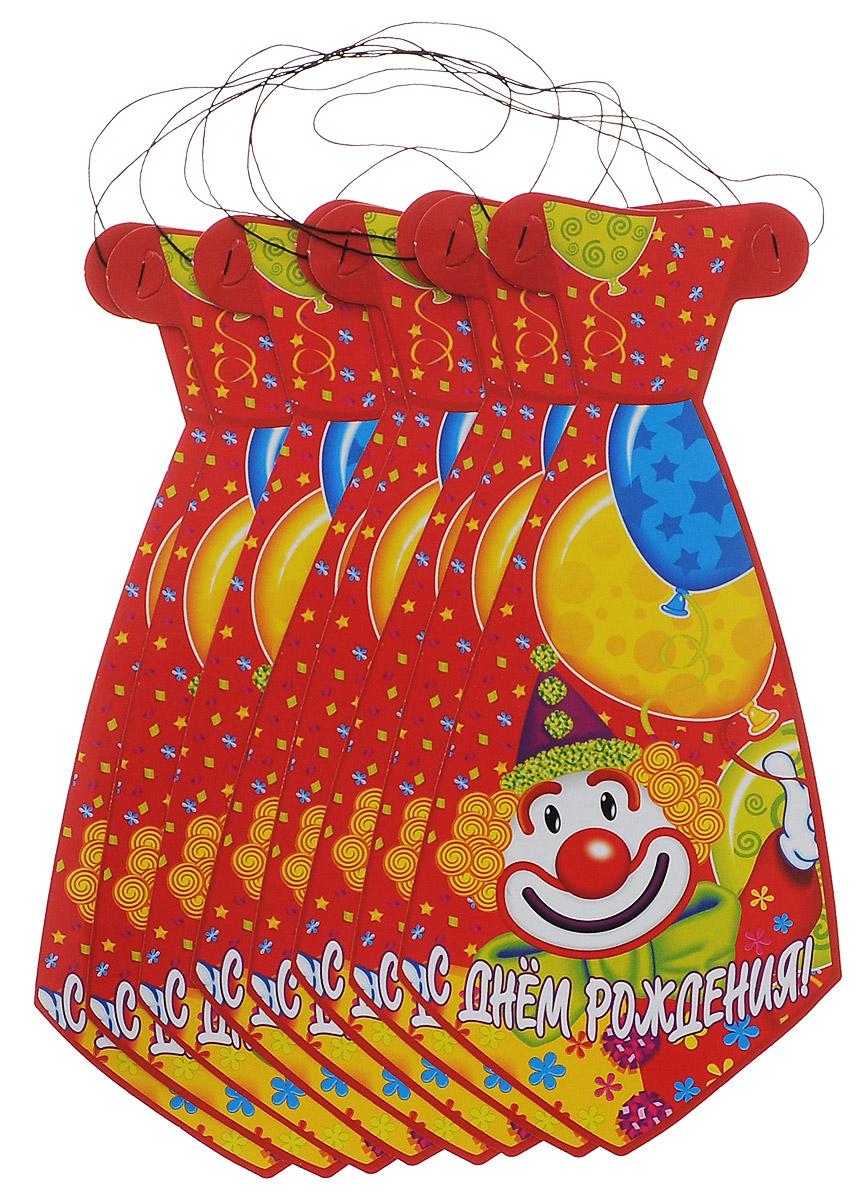 """Галстук Веселая затея """"С днем рождения: Клоун"""" развеселит вас и ваших друзей в праздничный день. Галстук выполнен из картона и оформлен картинкой клоуна. Имеет веревочку для надежного крепления. Радуйте себя и родных, дарите подарки и хорошее настроение! Почувствуйте волшебные минуты ожидания праздника, создайте праздничное настроение вашим дорогим и близким! В комплекте 8 галстуков."""